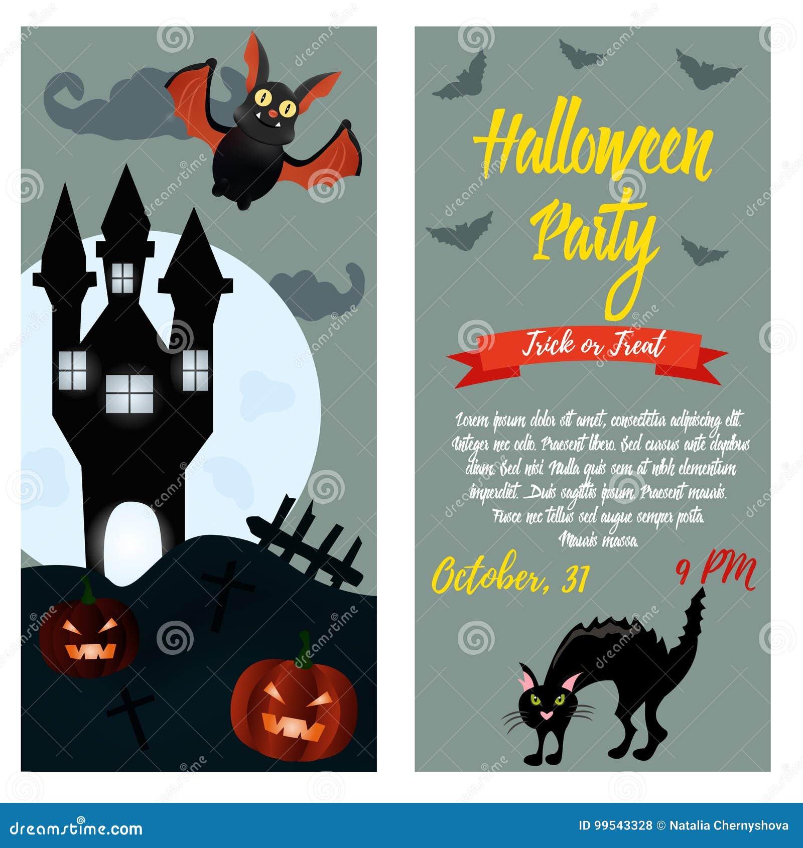 Plantilla De La Invitación Del Partido De Halloween Fondo De ...