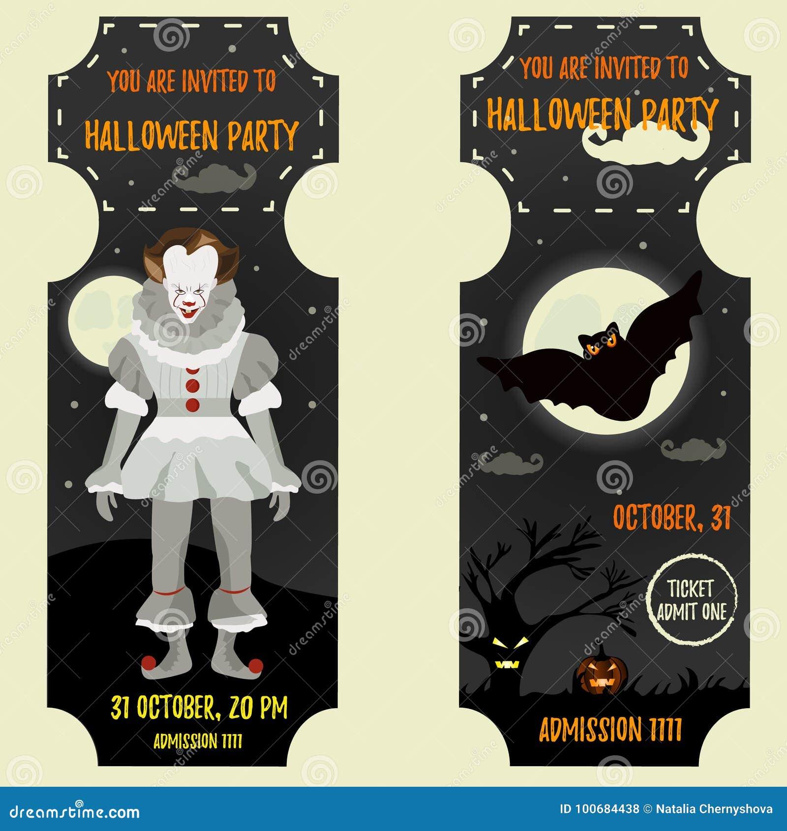 Plantilla De La Invitación De Halloween Con El Payaso Asustadizo Y ...