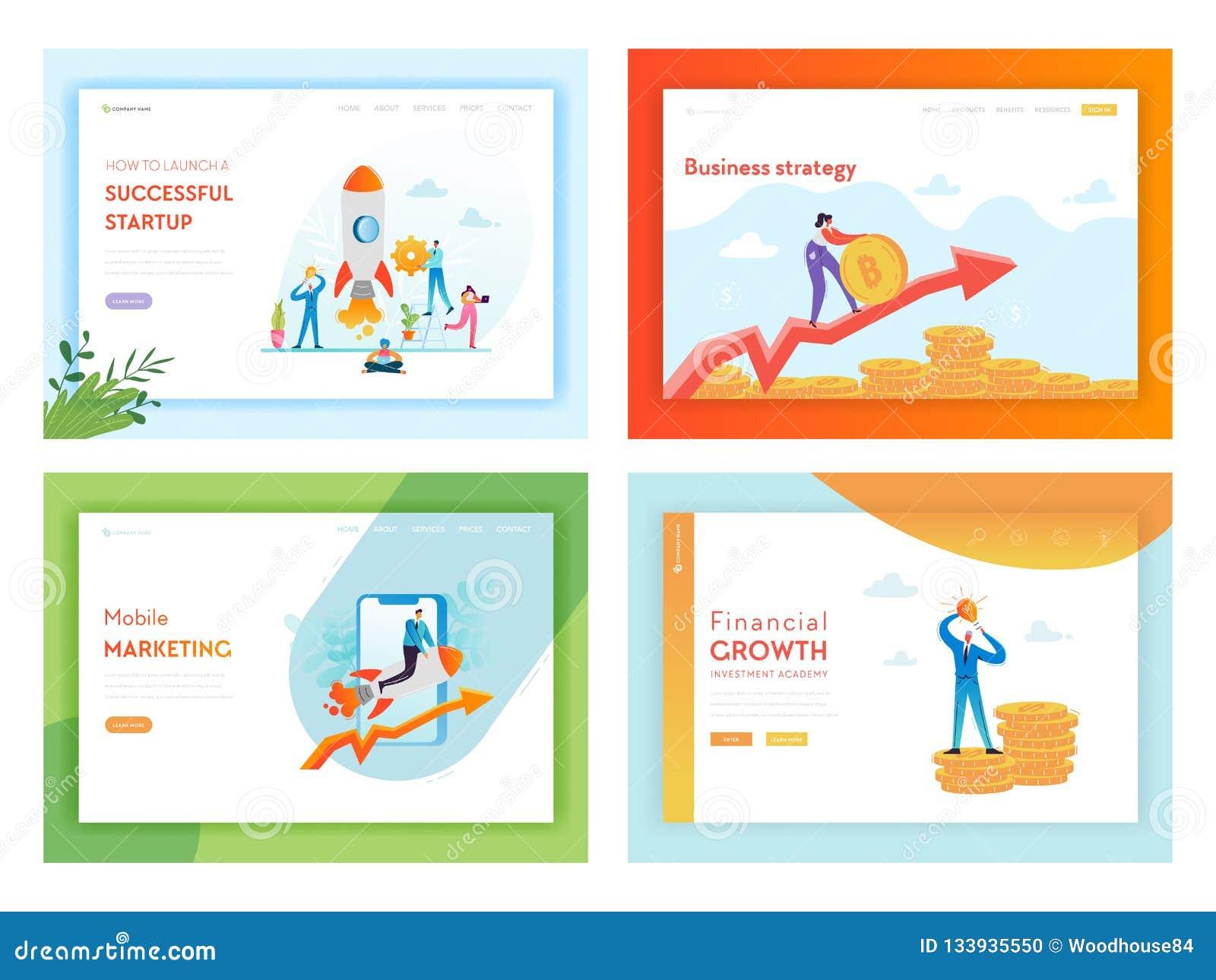 Plantilla de la página del aterrizaje del éxito empresarial de la inversión financiera Concepto de lanzamiento de comercializació