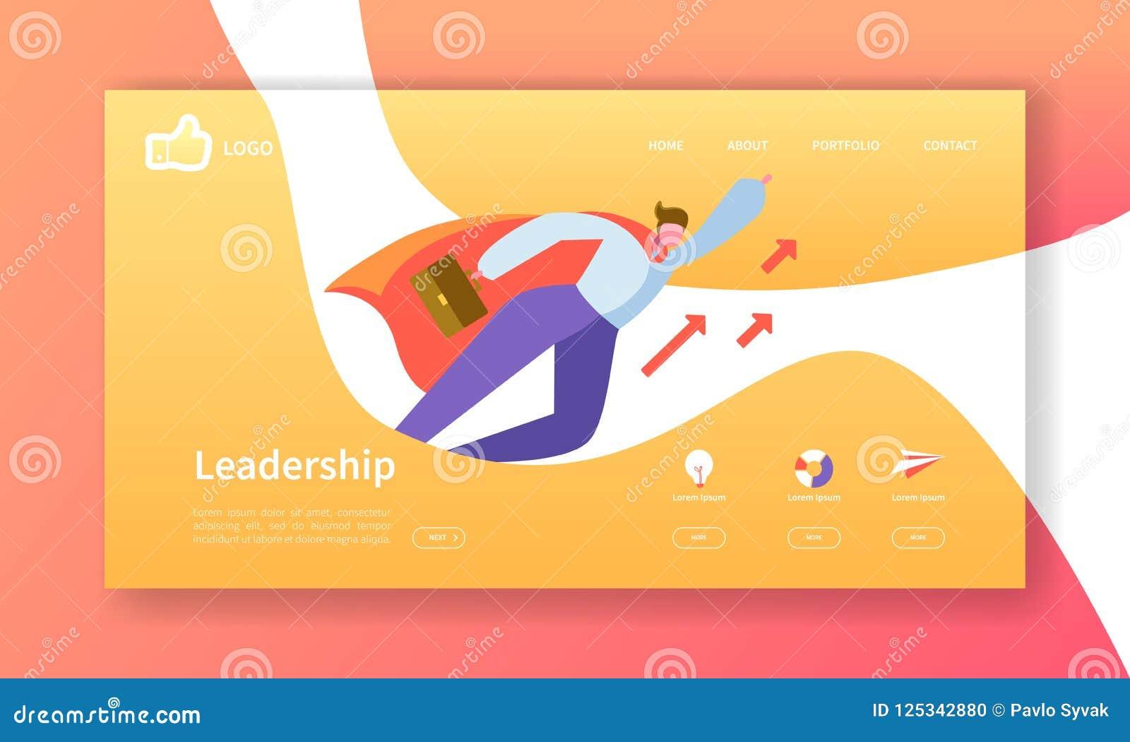 Plantilla de la página del aterrizaje del desarrollo del sitio web Disposición de la aplicación móvil con el hombre de negocios p