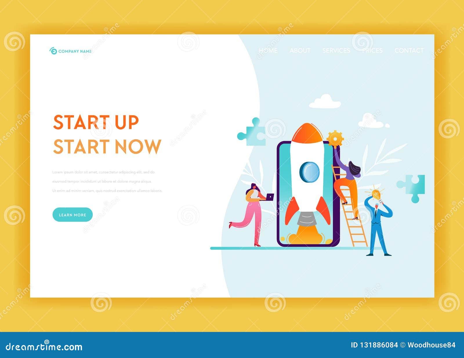 Plantilla de la página del aterrizaje de la puesta en marcha del negocio Bandera móvil de la tecnología y de la estrategia con lo