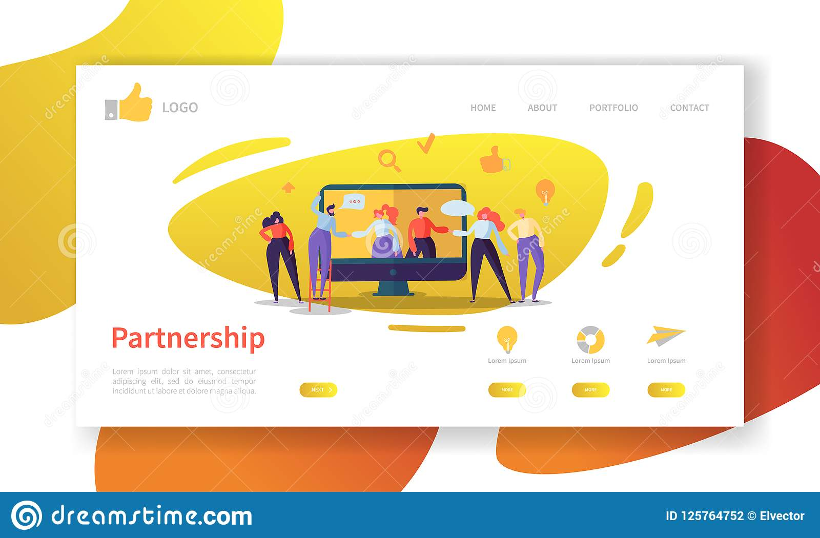 Plantilla de la página del aterrizaje de la sociedad del negocio Disposición del sitio web con la cooperación plana de los caract
