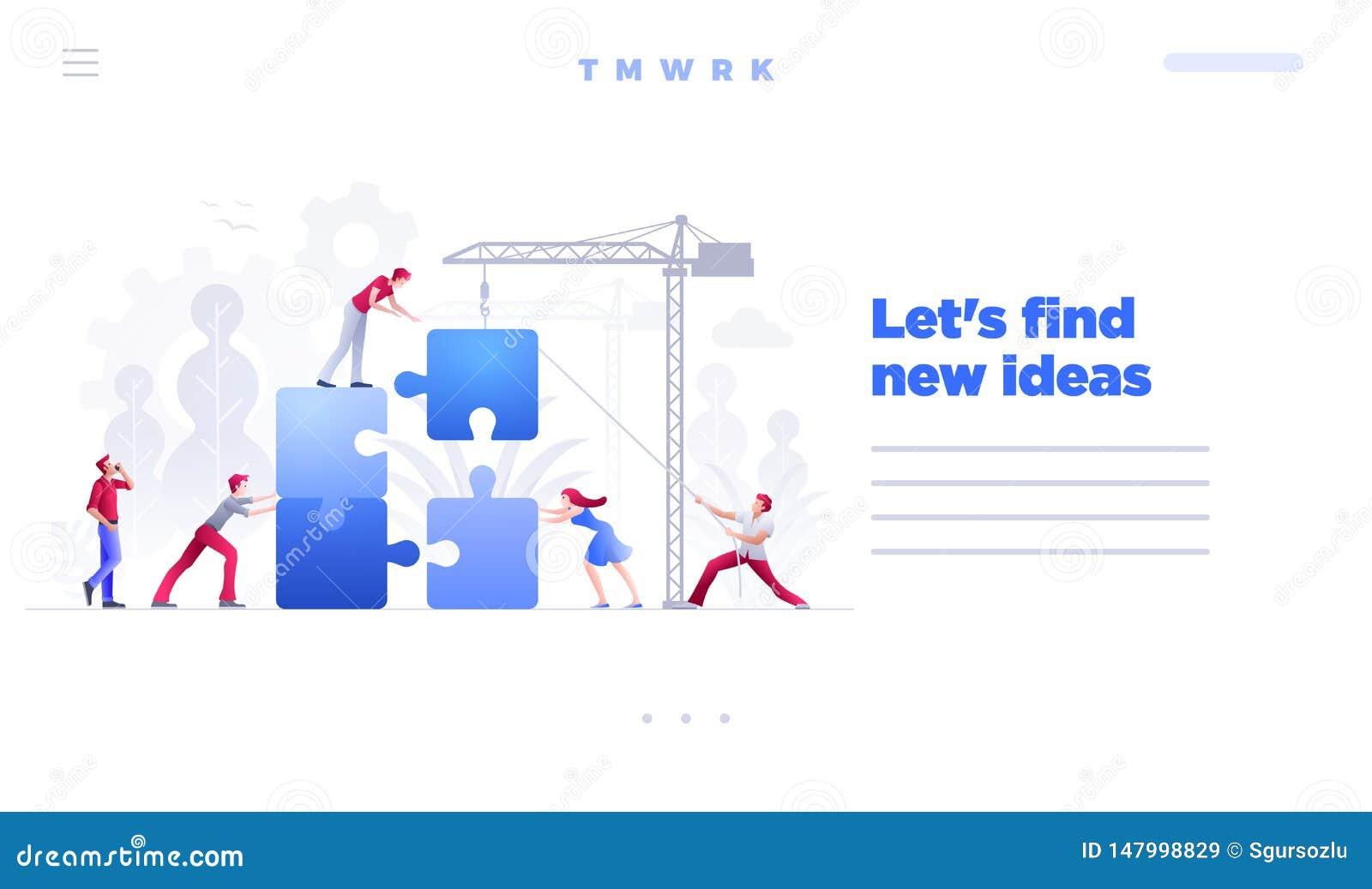 Plantilla de la página del sitio web del vector del concepto del trabajo en equipo del negocio