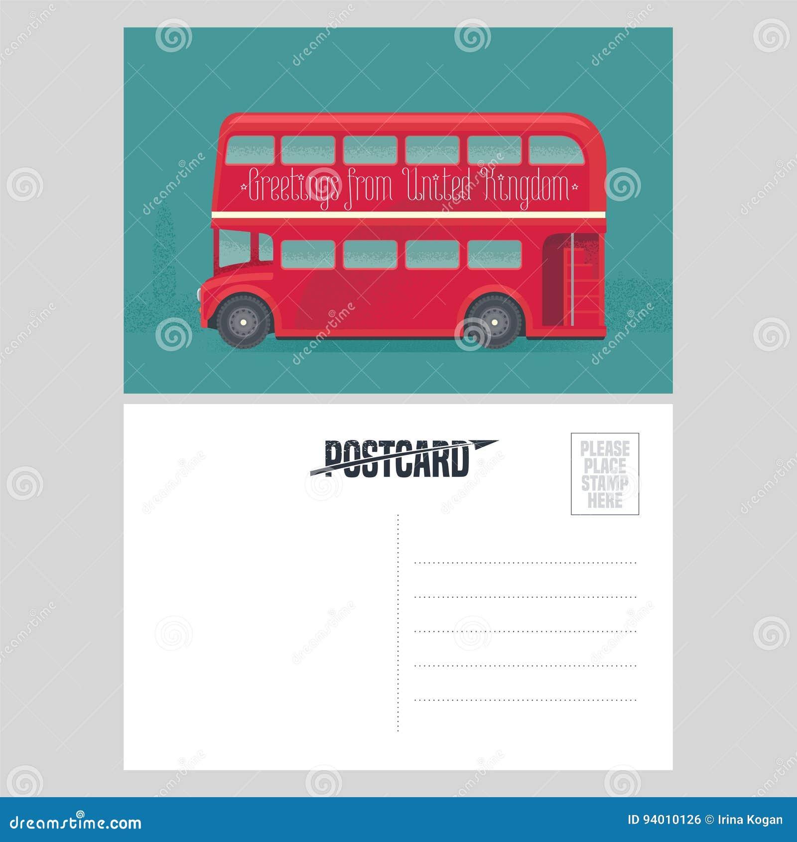Plantilla De La Postal Con Saludos De Reino Unido, Reino Unido Con ...