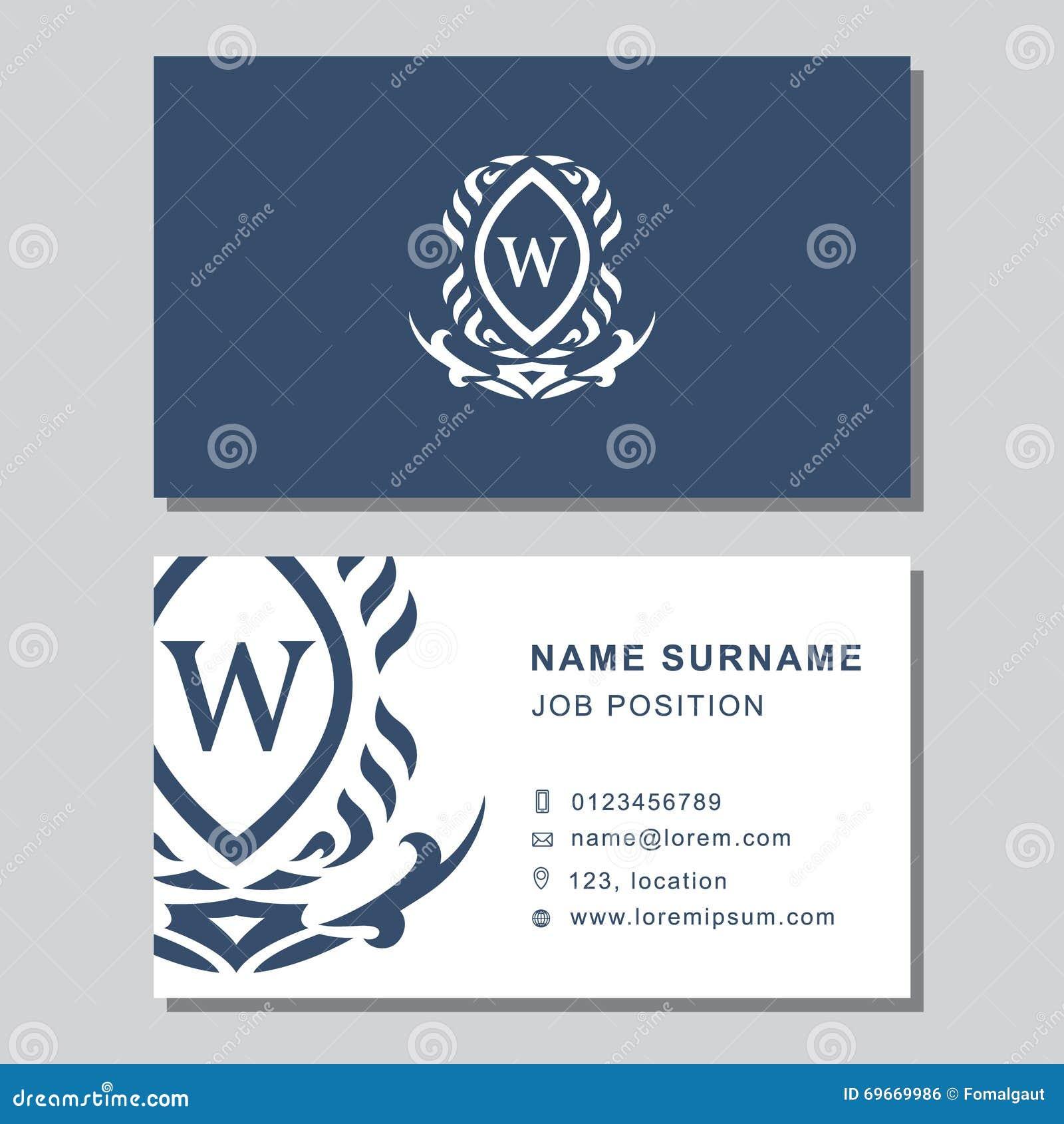 Plantilla de la tarjeta de visita con los elementos abstractos del diseño del monograma