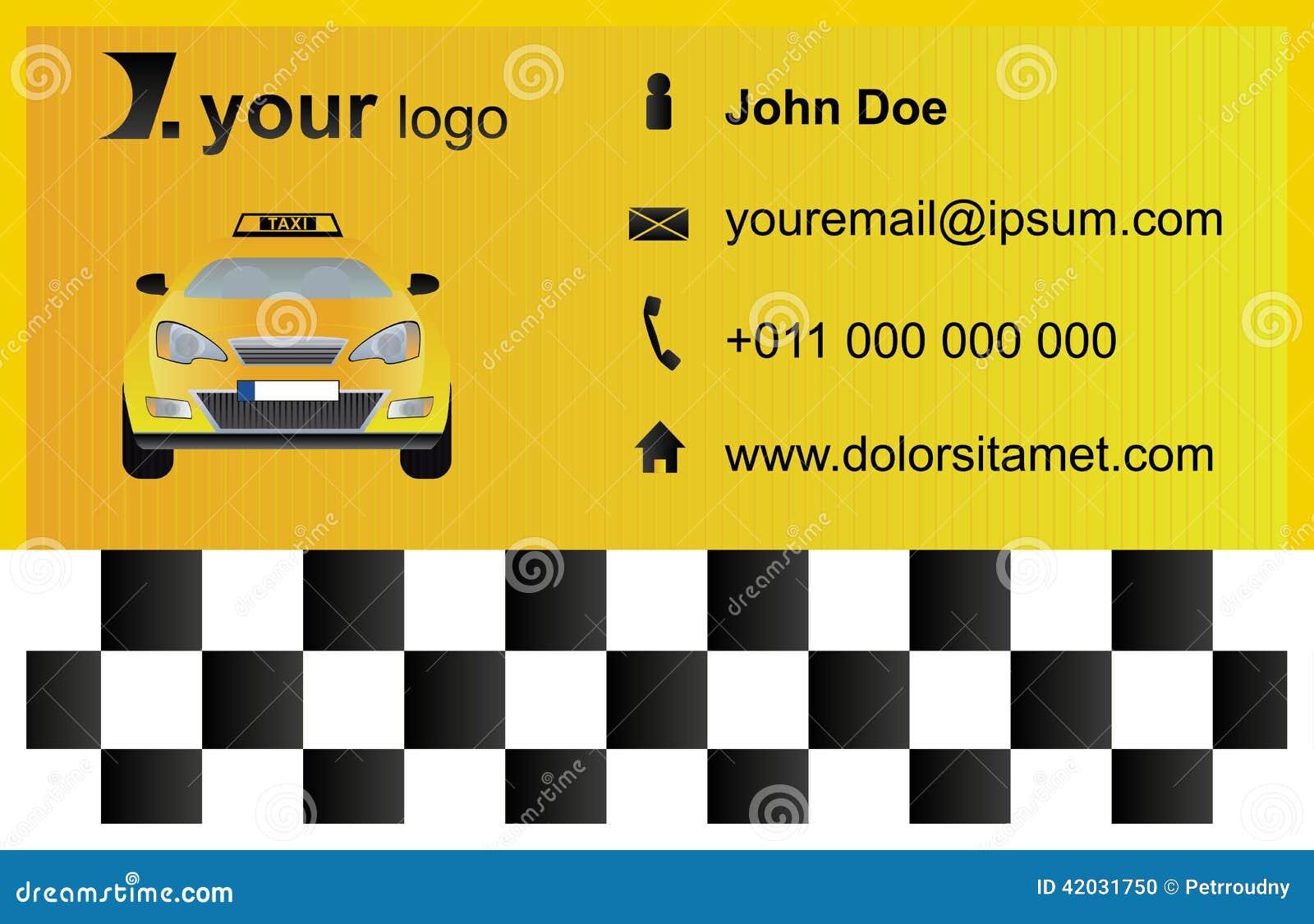 Plantilla De La Tarjeta De Visita Del Taxi Ilustración del Vector ...