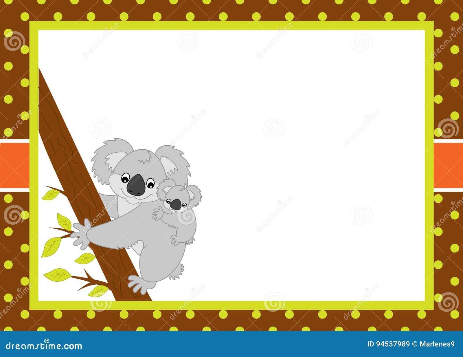 Plantilla De La Tarjeta Del Vector Con Las Koalas Lindas De La ...