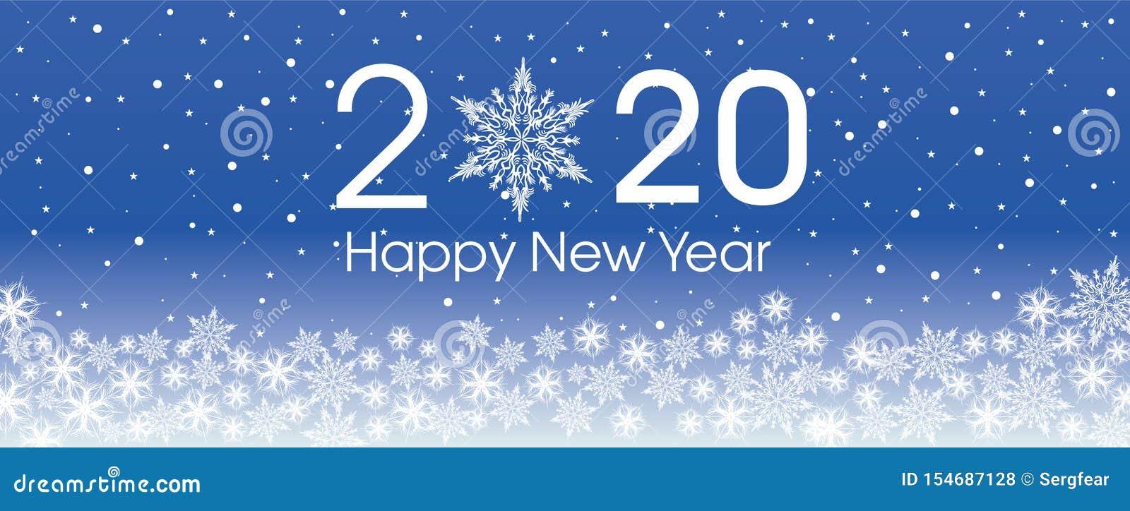 Plantilla de la tarjeta de la Feliz Año Nuevo 2020 Copos de nieve patern del diseño