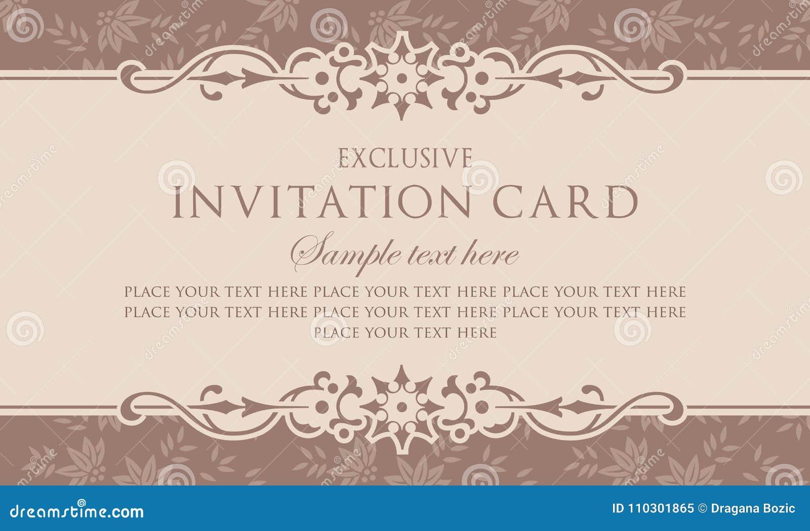 Plantilla De La Tarjeta De La Invitación Estilo Exclusivo