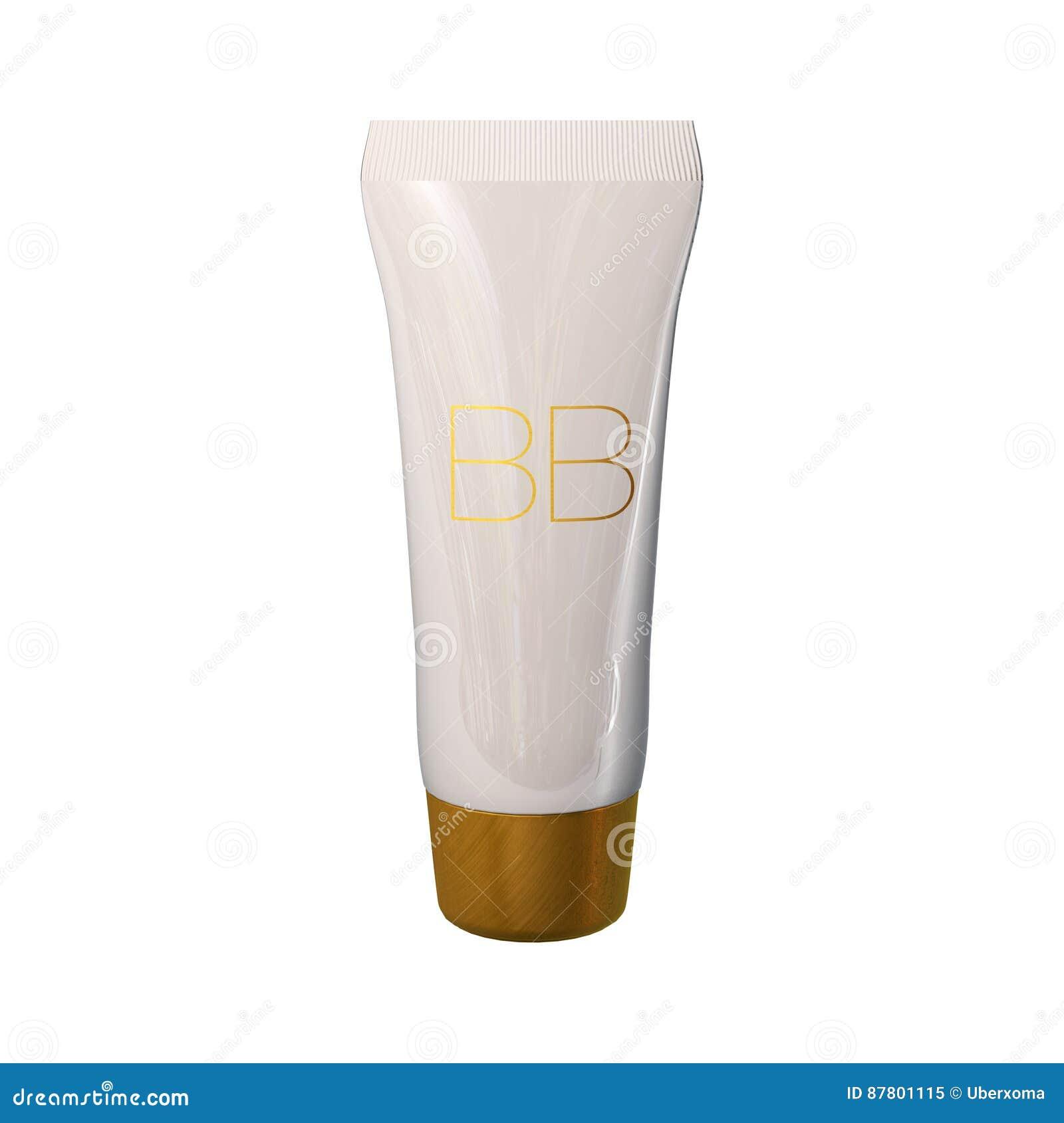 Plantilla de los anuncios del tubo de la fundación, maqueta poner crema de la botella del bb Ejemplo de la tinta 3D de la piel