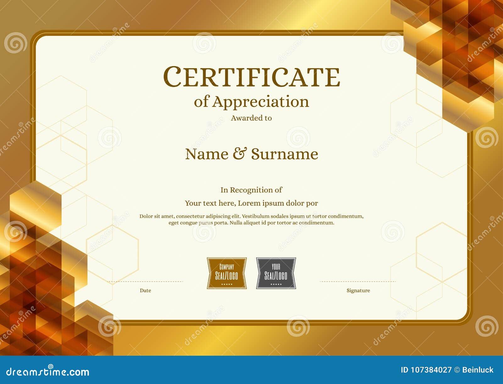 plantilla de lujo del certificado con el marco elegante de