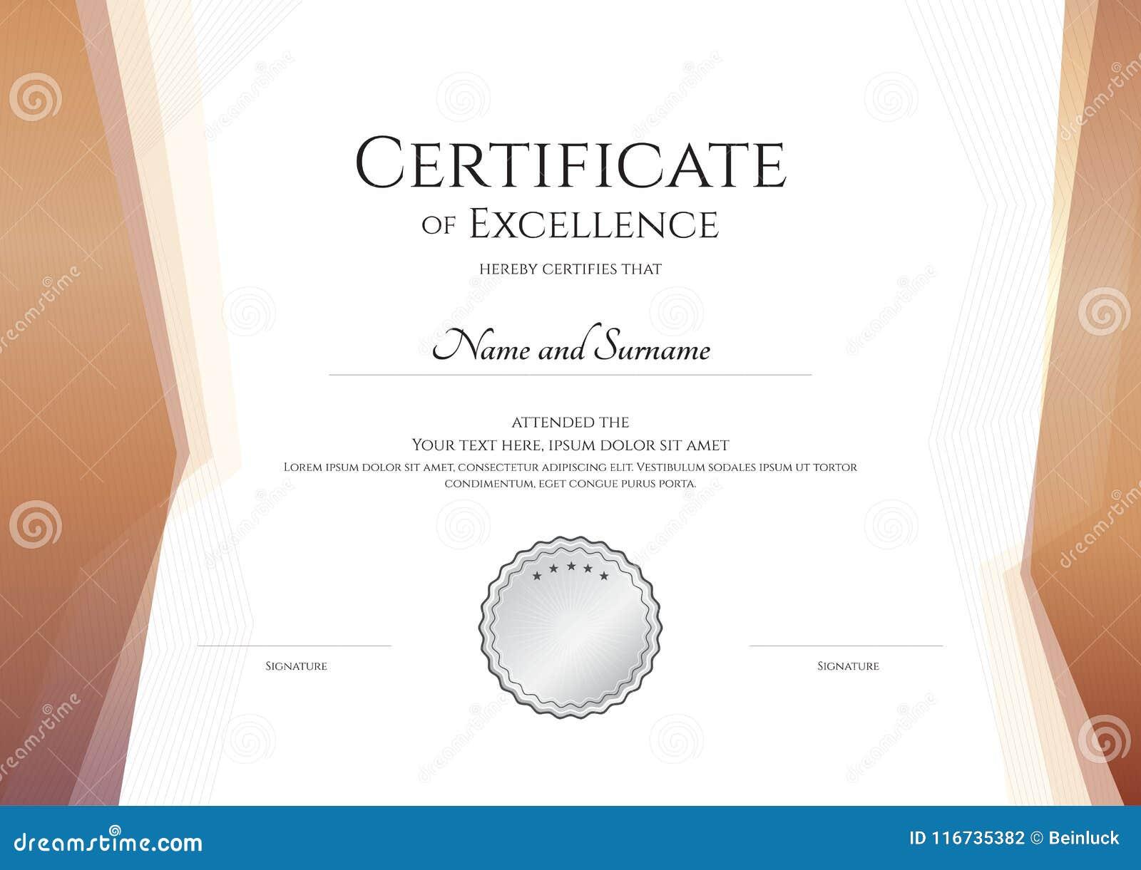 Plantilla De Lujo Del Certificado Con El Marco Elegante De La ...