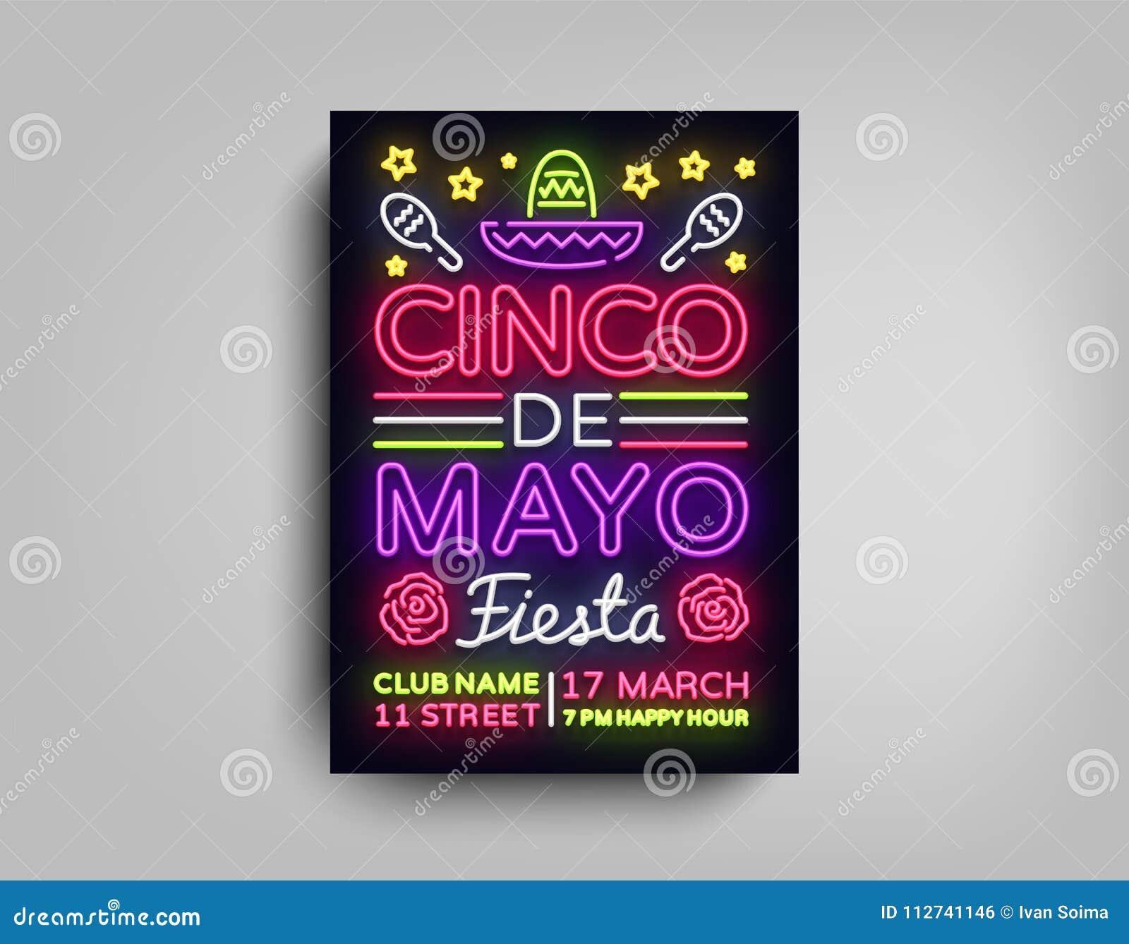 Plantilla de neón del estilo del diseño del cartel de Cinco de Mayo Señal de neón, aviador de neón ligero brillante, bandera lige