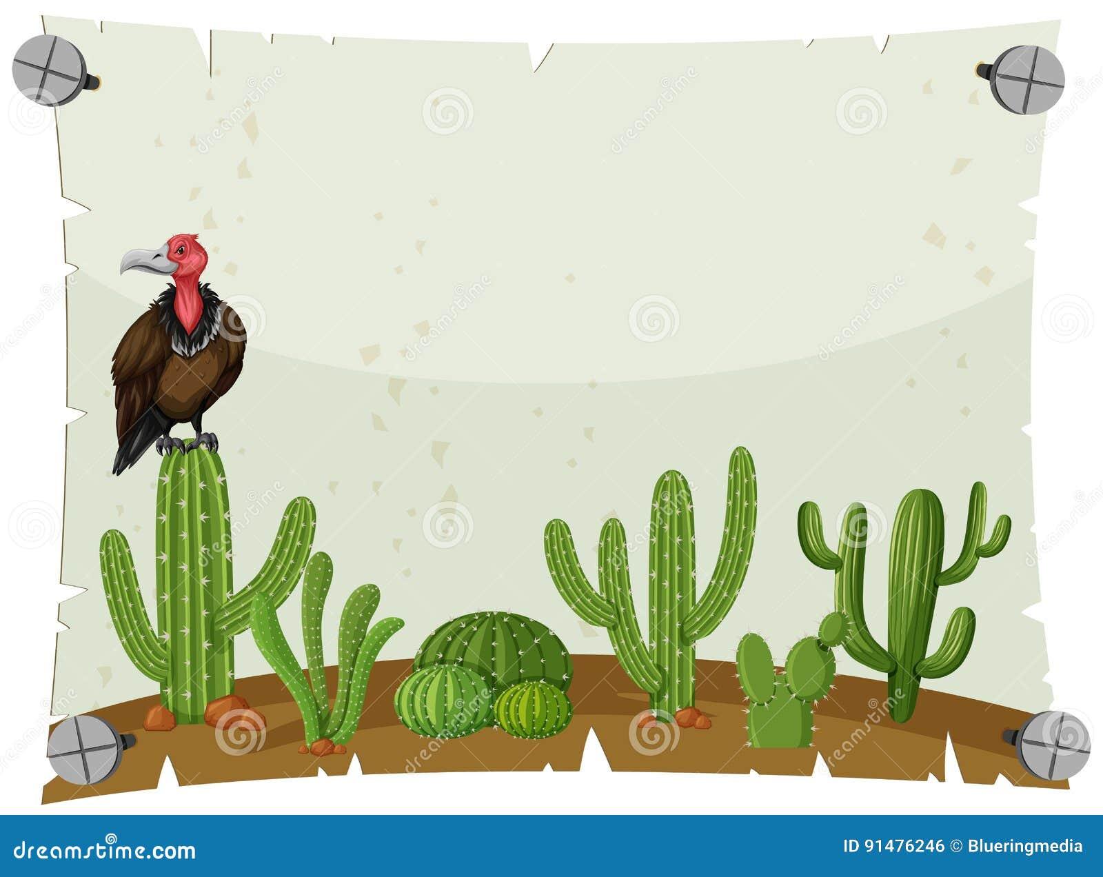 Plantilla De Papel Con El Buitre En Jardín Del Cactus Ilustración ...