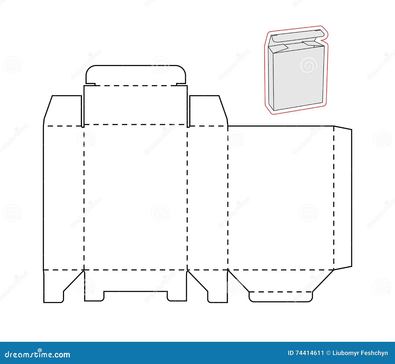 Plantilla De Una Caja Simple Papel O Cartulina Cortado Ilustración ...