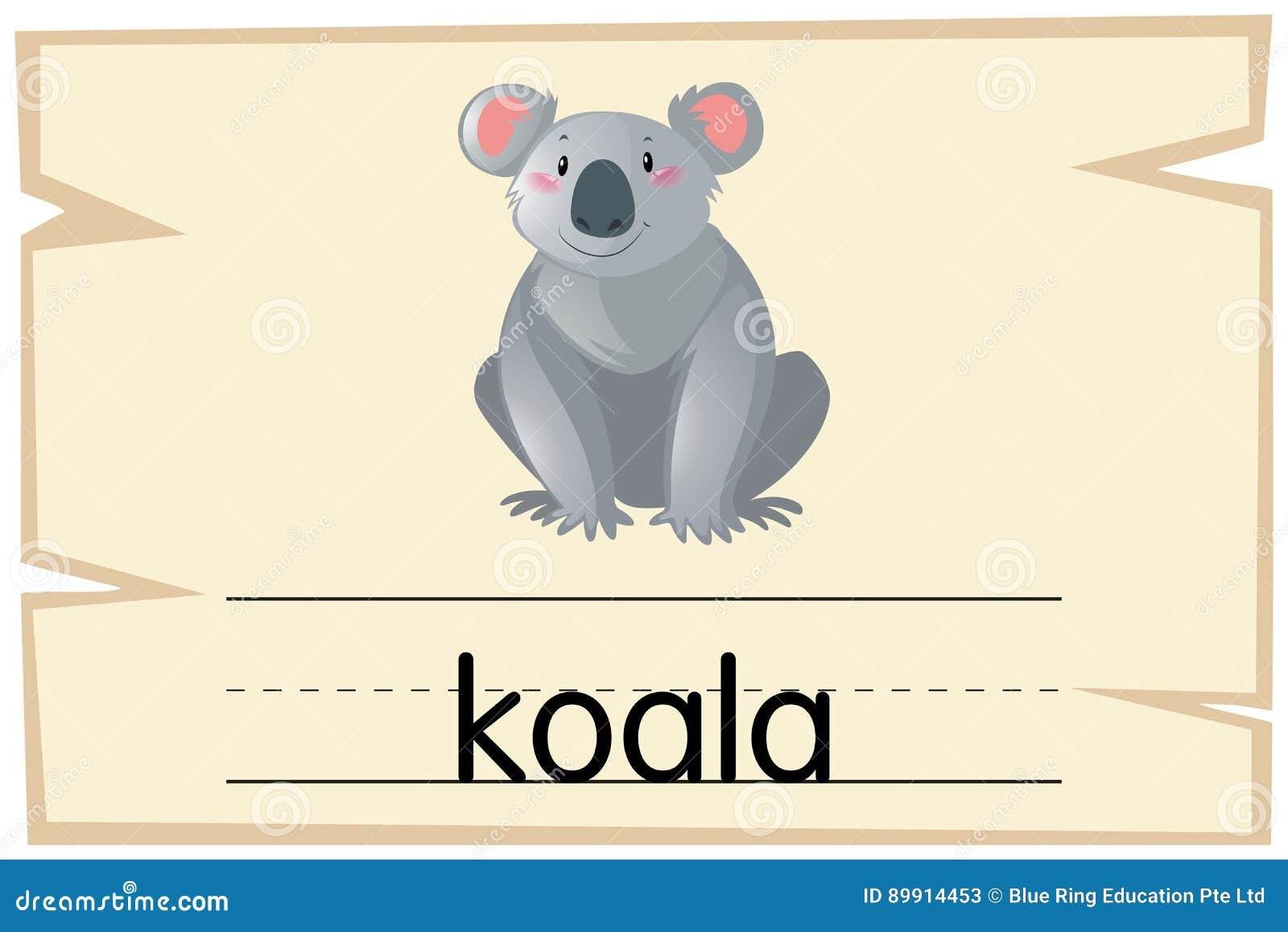 Plantilla De Wordcard Para El Oso De Koala Ilustración del Vector ...
