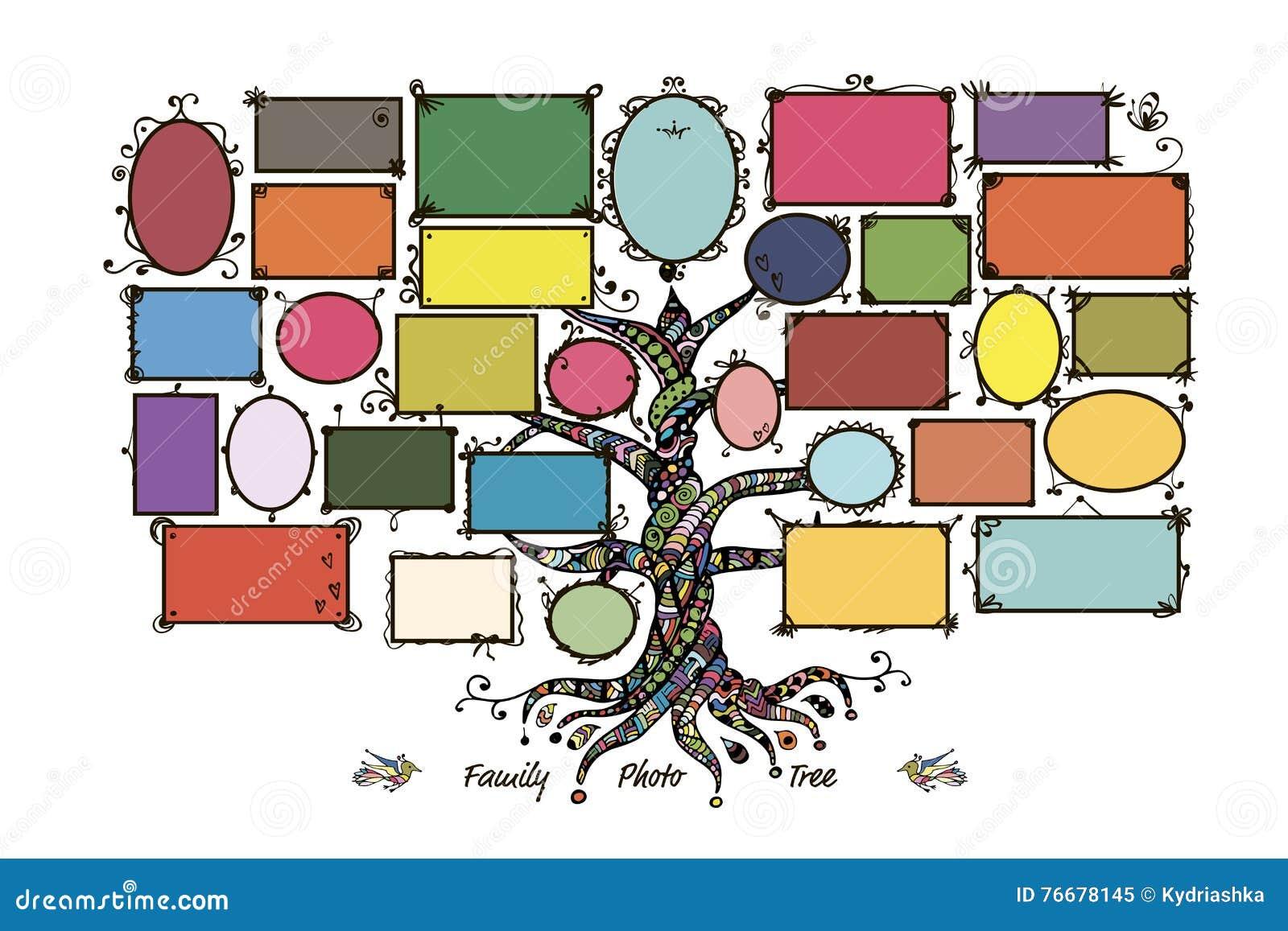 Plantilla Del árbol De Familia Con Los Marcos Ilustración del Vector ...