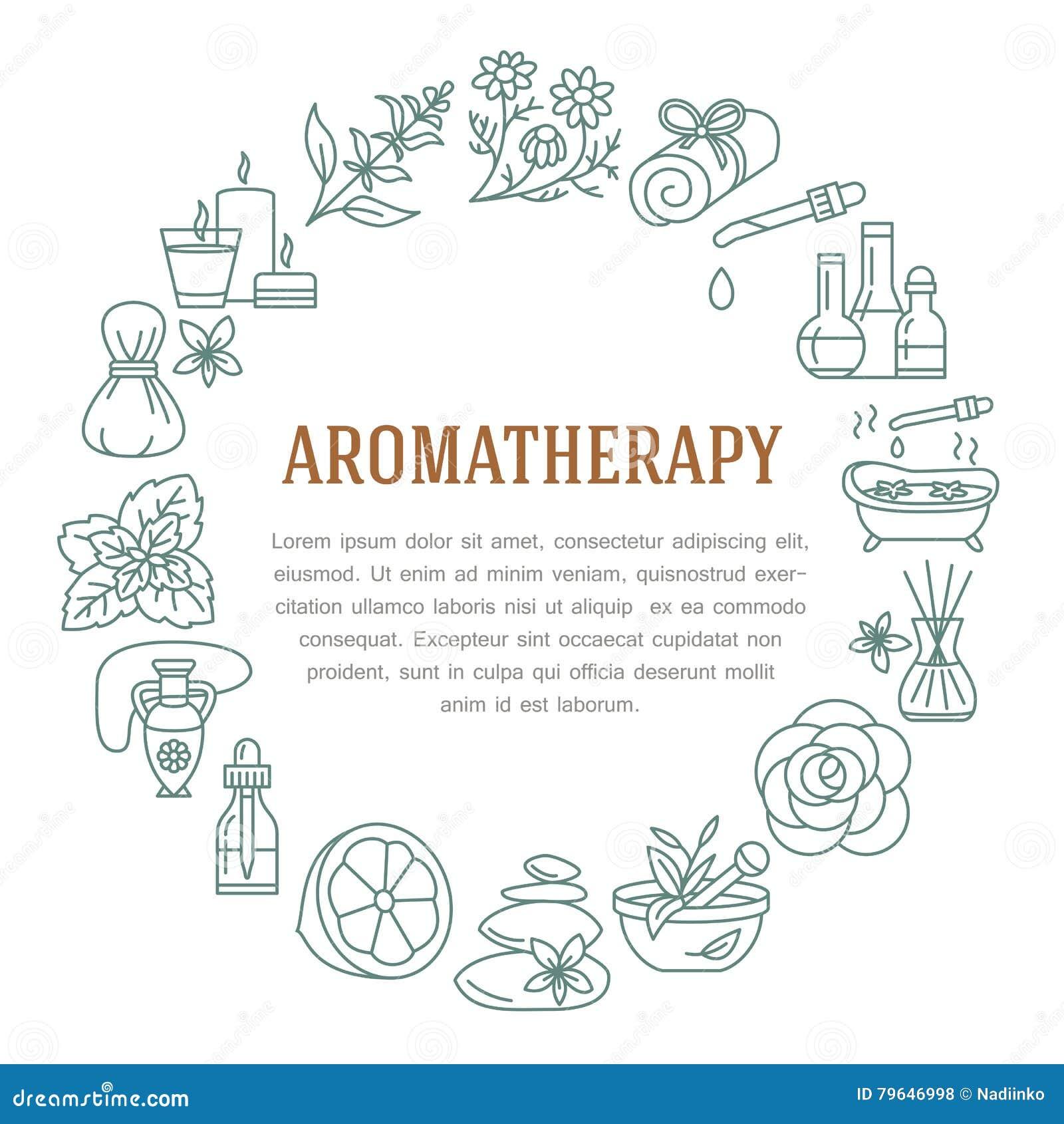 Plantilla del círculo del Aromatherapy y de los aceites esenciales Vector la línea ejemplo de difusor del aromatherapy, hornilla