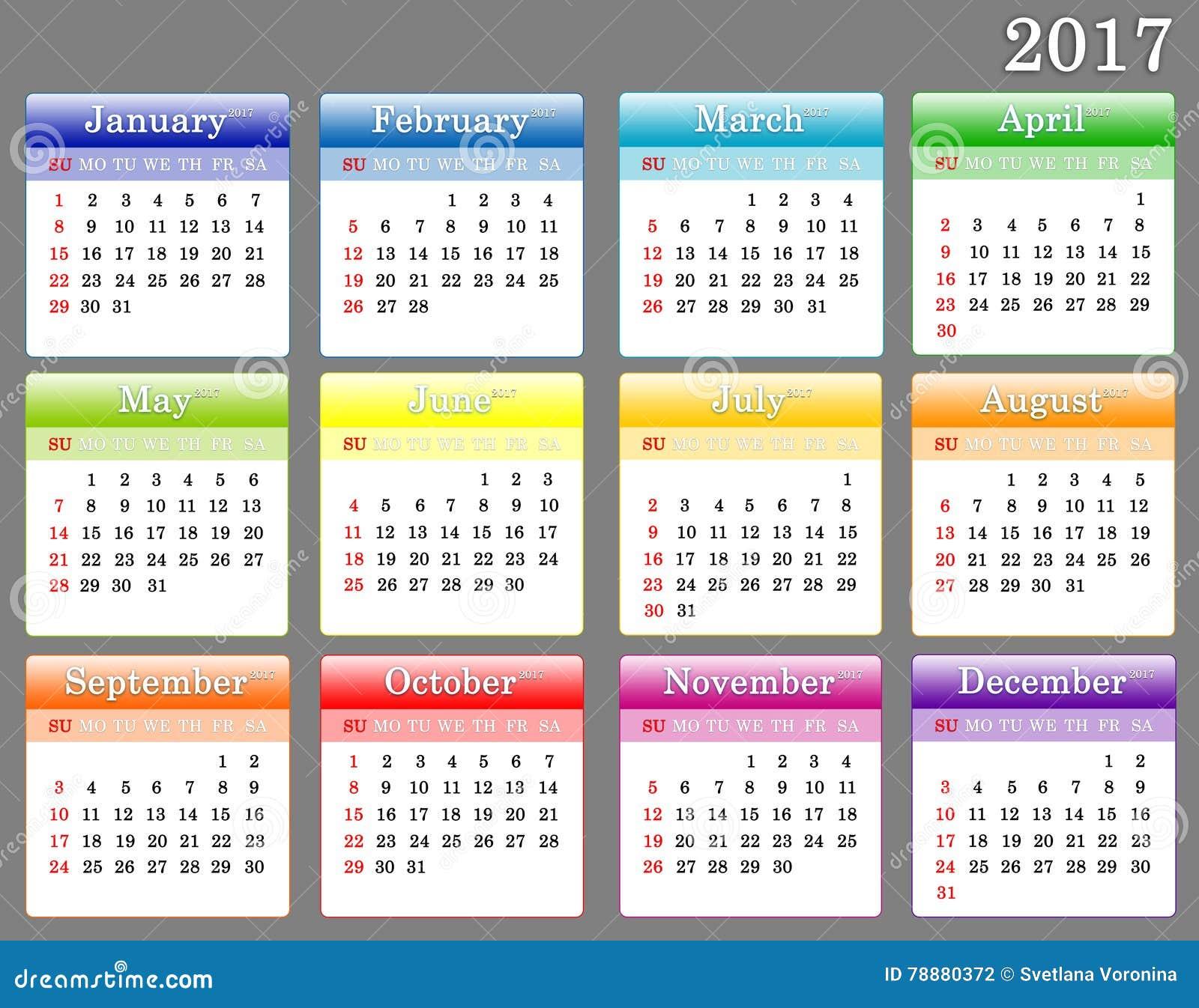 Plantilla Del Calendario Colorido 2017 Stock de ilustración ...