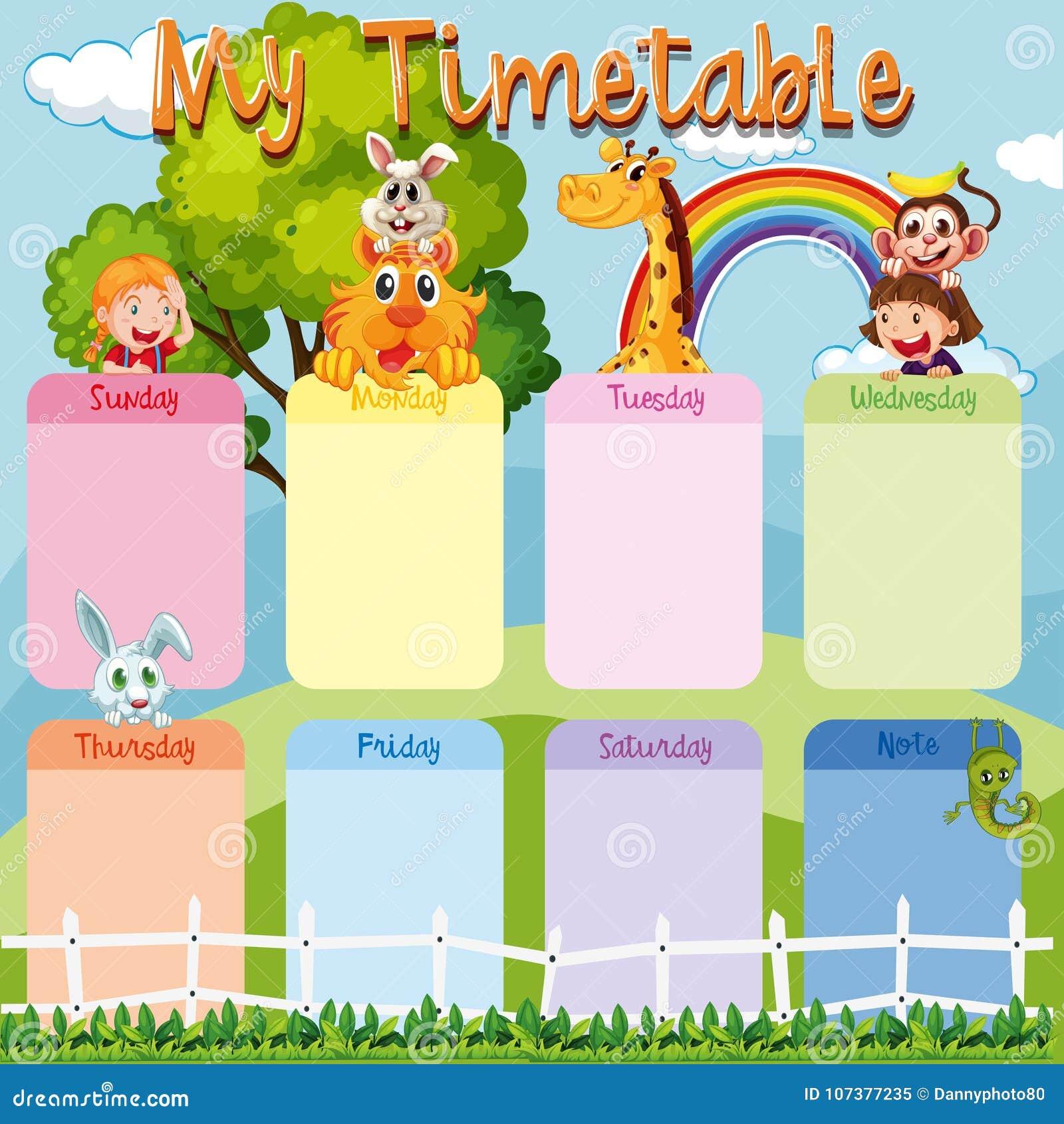 Plantilla Del Calendario Con Los Animales Y Los Niños Ilustración ...