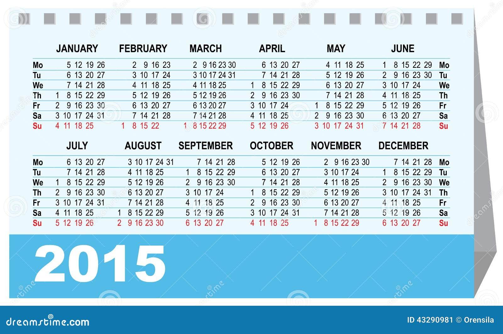 Contemporáneo Plantilla De Oficina De Calendario 2015 Motivo ...