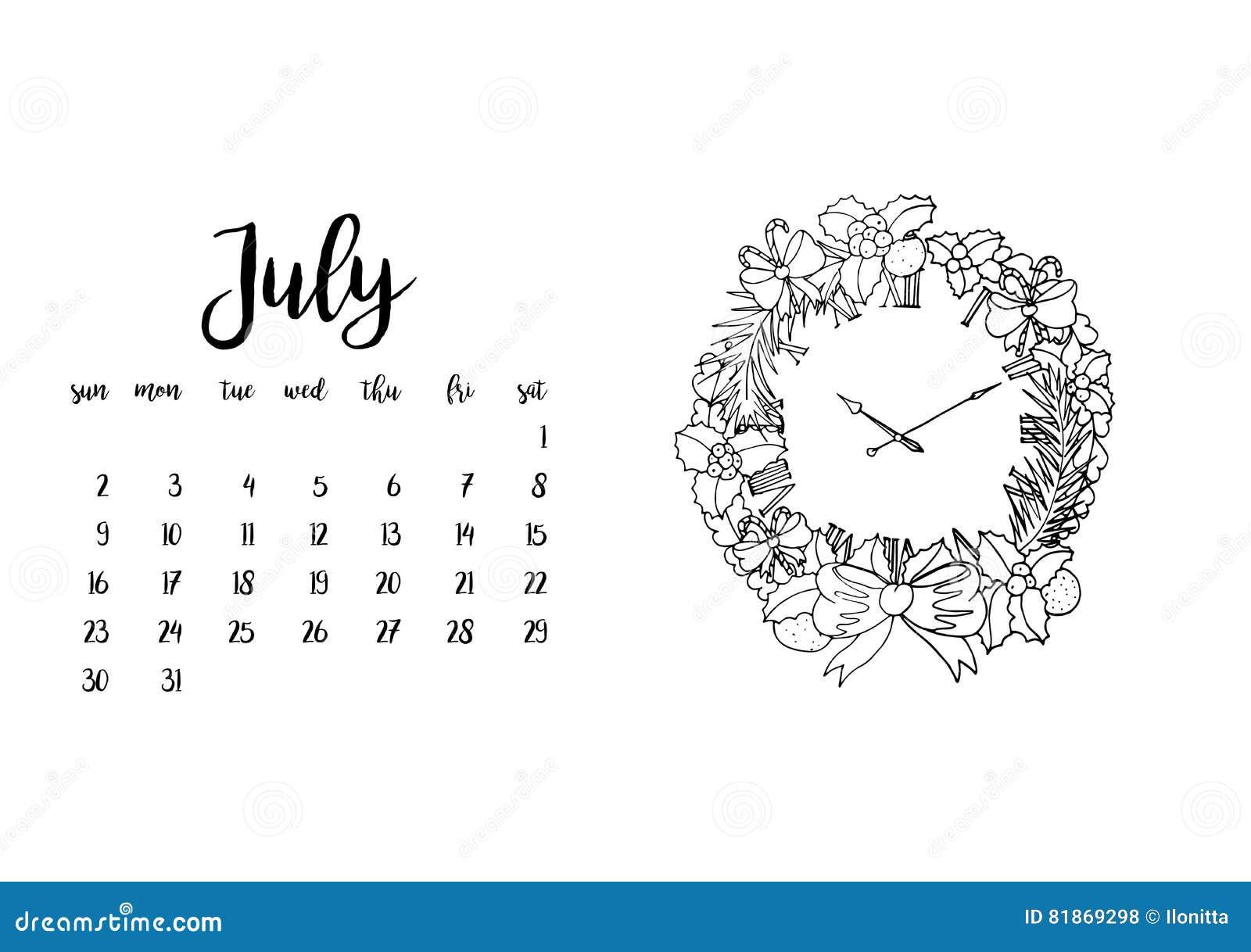 Mes De Julio Calendario.Plantilla Del Calendario De Escritorio Para El Mes Julio