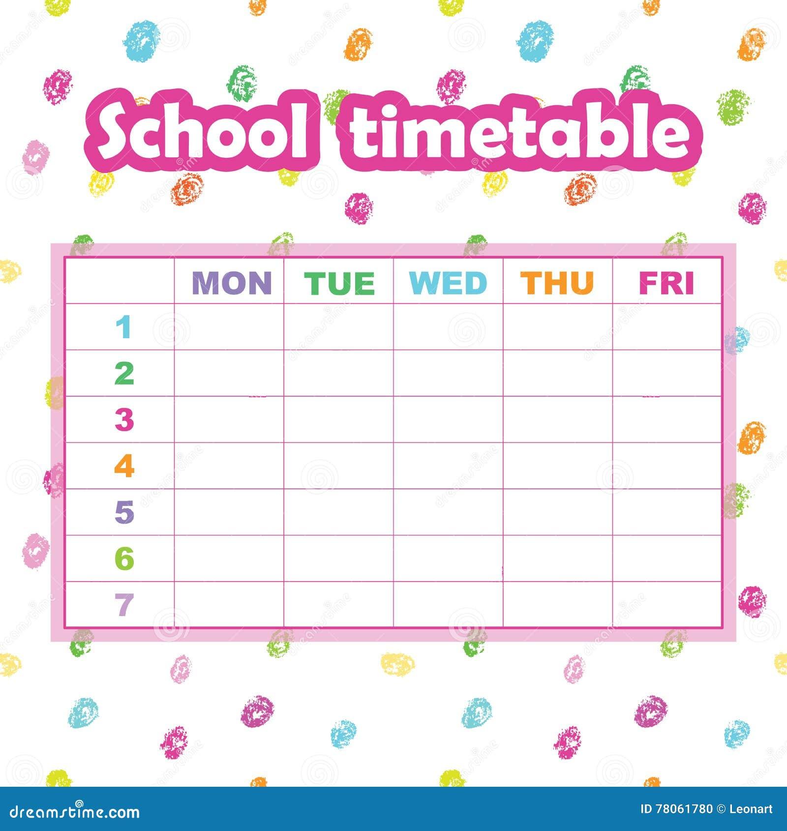 Plantilla Del Calendario De La Escuela Para Los Estudiantes Y Los ...
