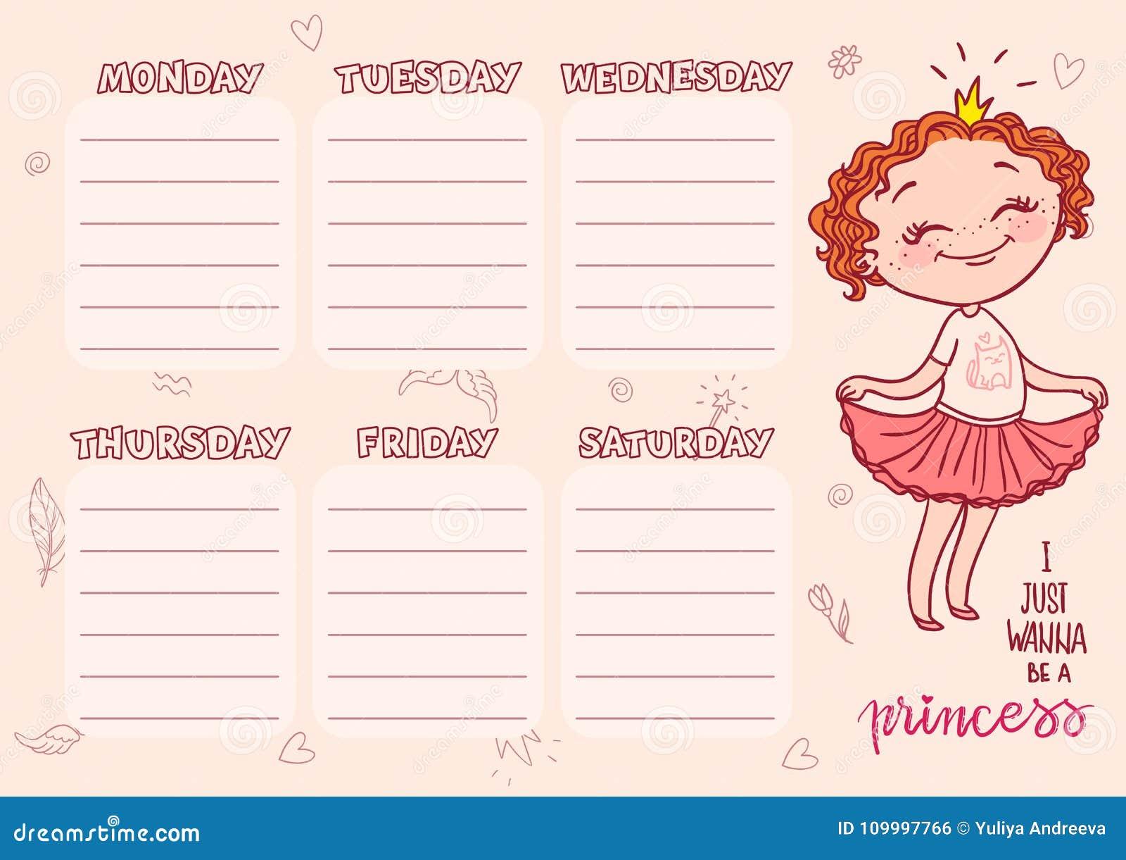 Plantilla Del Calendario De La Escuela Para Los Niños Horario ...