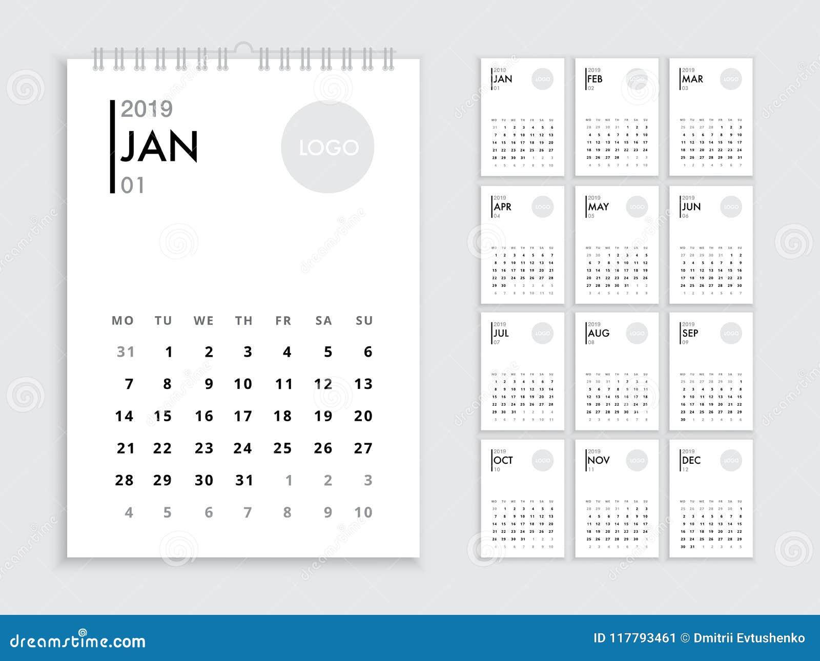 Calendario Diario 2019.Plantilla 2019 Del Calendario De Pared Ilustracion Del
