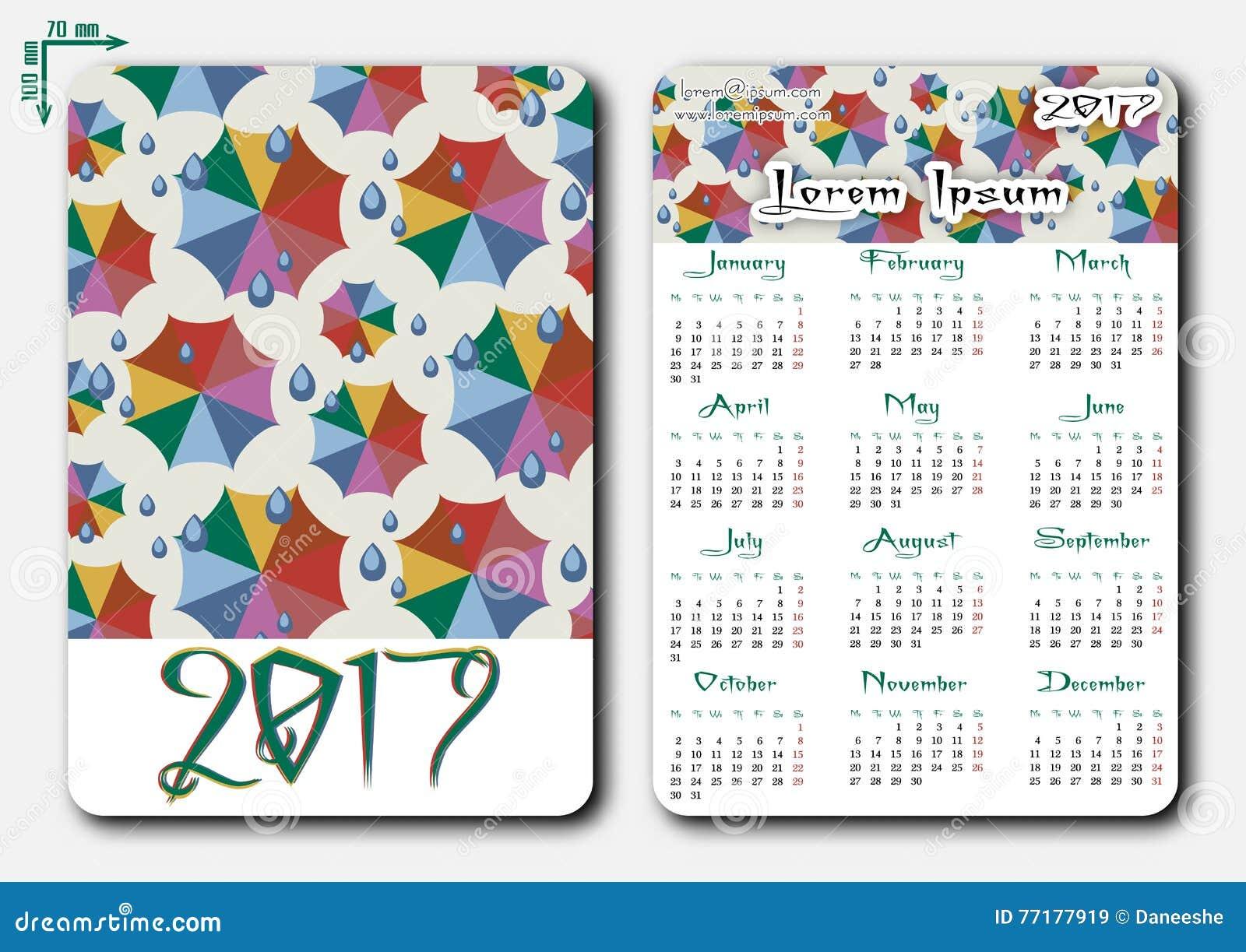 Plantilla Del Calendario Del Bolsillo Con La Rejilla Para 2017 ...