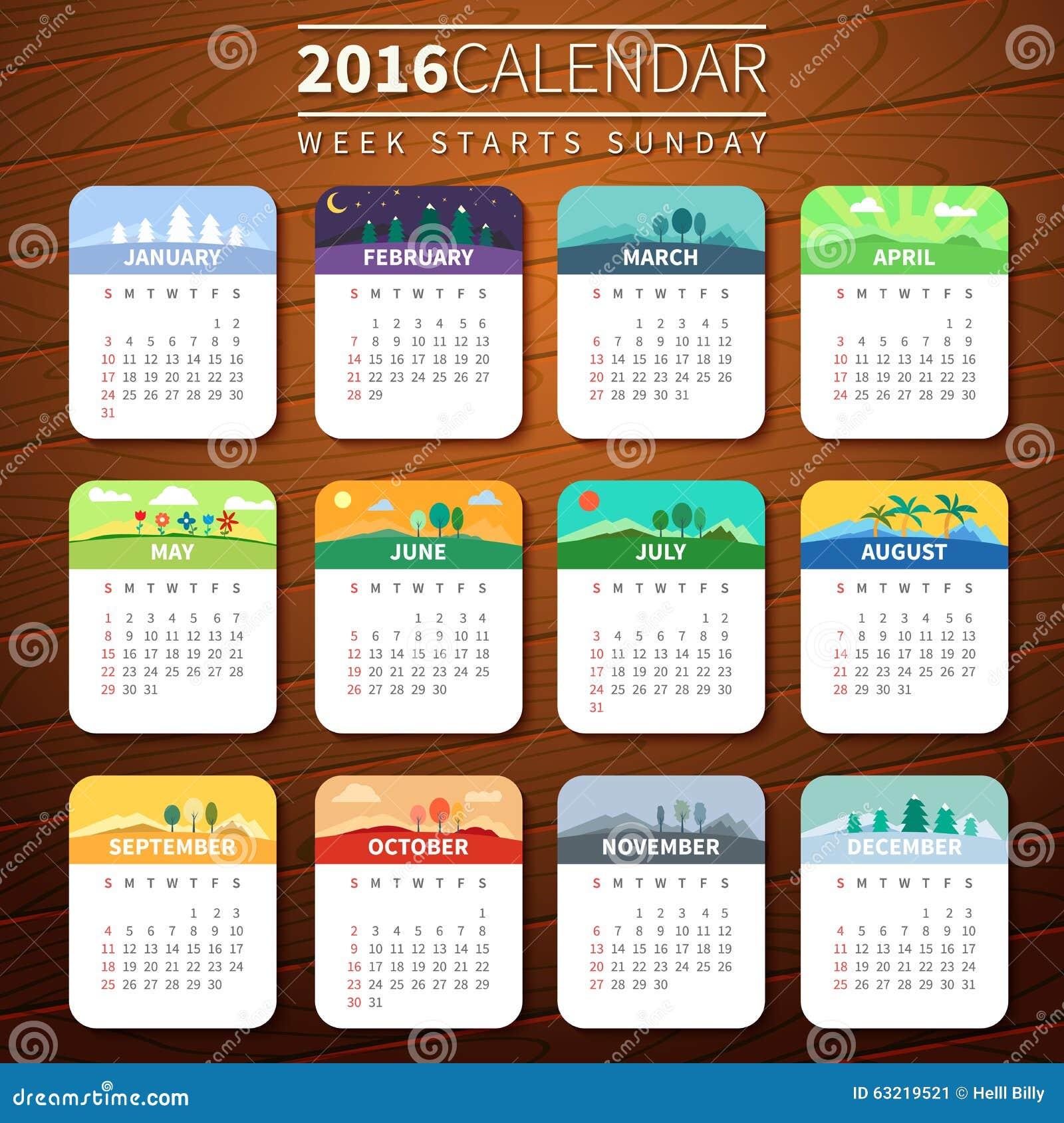 Plantilla 2016 Del Calendario Del Vector Ilustración del Vector ...
