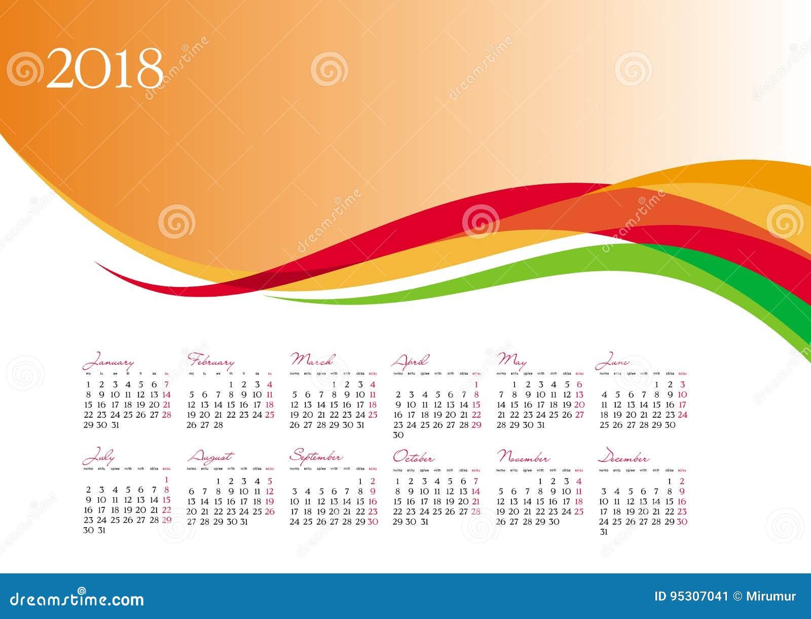 Plantilla Del Calendario 2018 En Fondo Anaranjado Ilustración del ...
