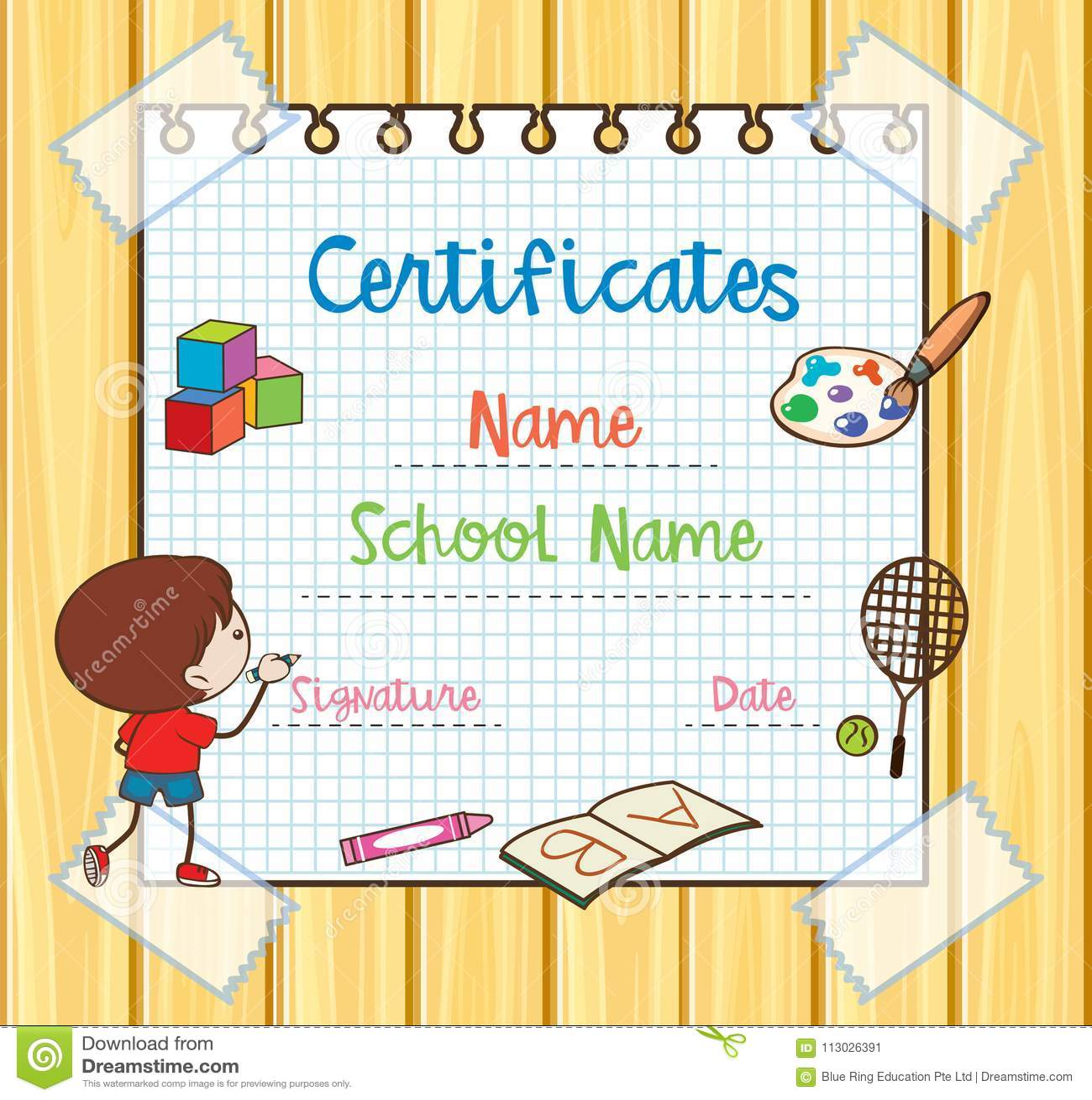 Plantilla Del Certificado Con El Dibujo Del Niño Ilustración del ...