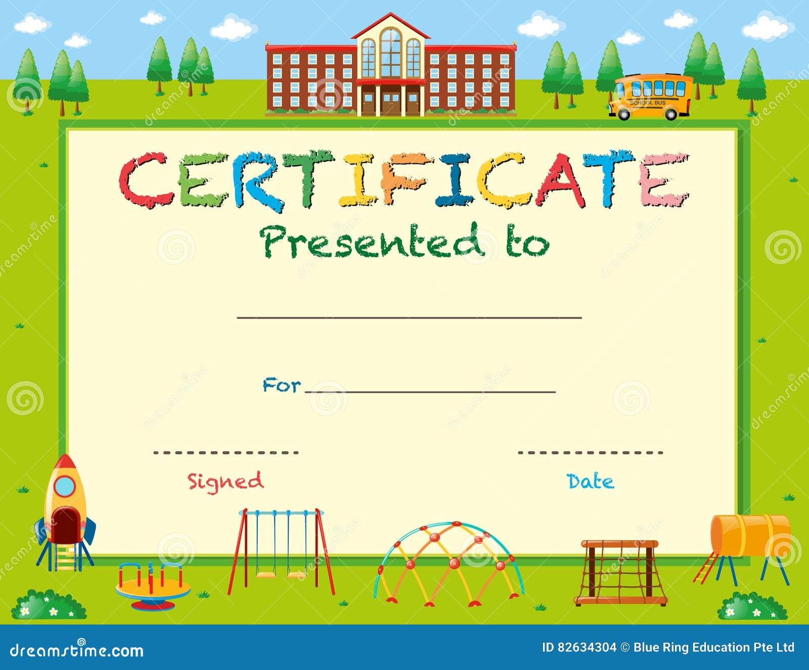 Plantilla Del Certificado Con La Escuela En Fondo Ilustración del ...