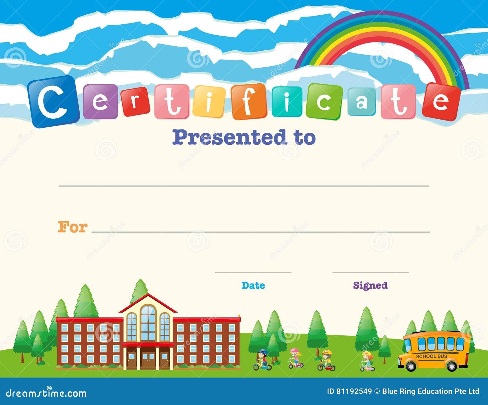 Plantilla Del Certificado Con Los Niños En La Escuela Ilustración ...