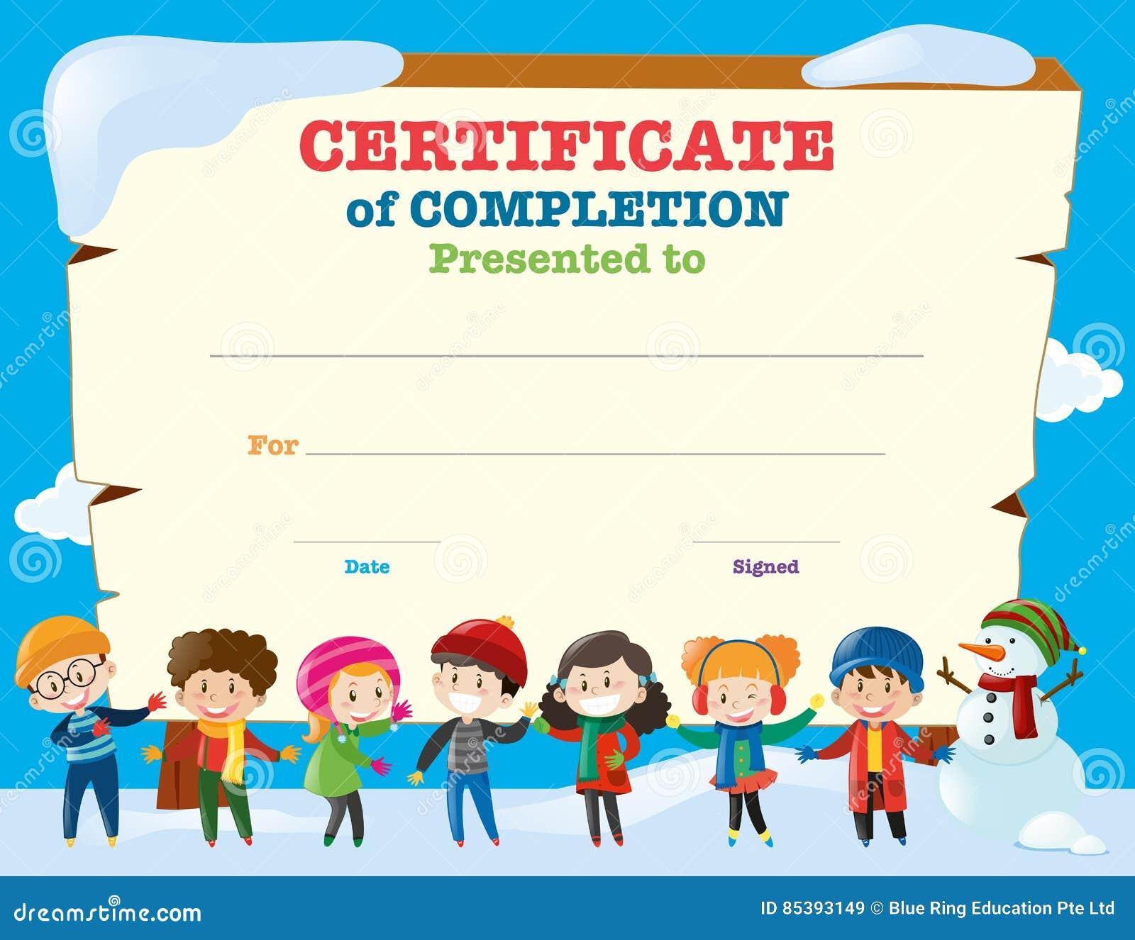 Plantilla Del Certificado Con Los Niños Felices En Invierno ...
