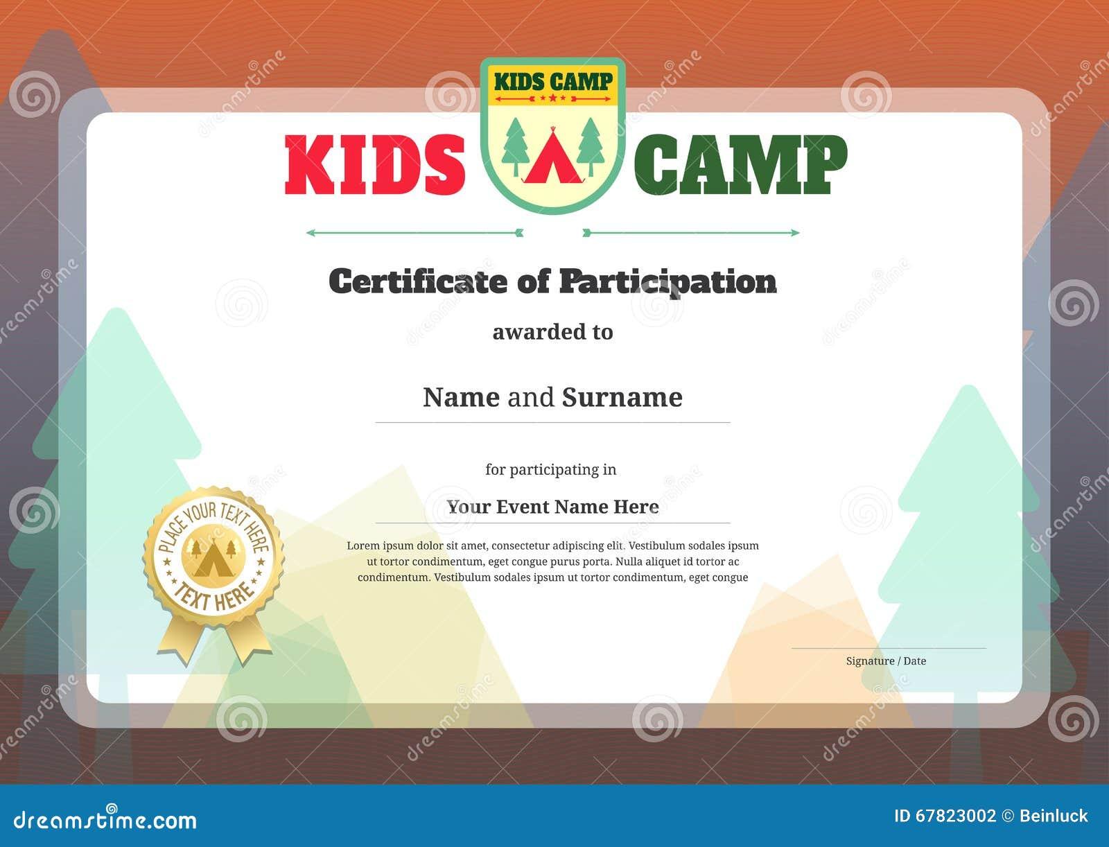 Plantilla Del Certificado De Los Niños En Vector Ilustración del ...