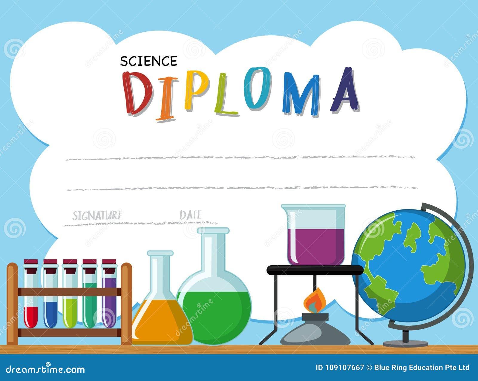 Plantilla Del Diploma Con Equipos De La Ciencia Ilustración del ...