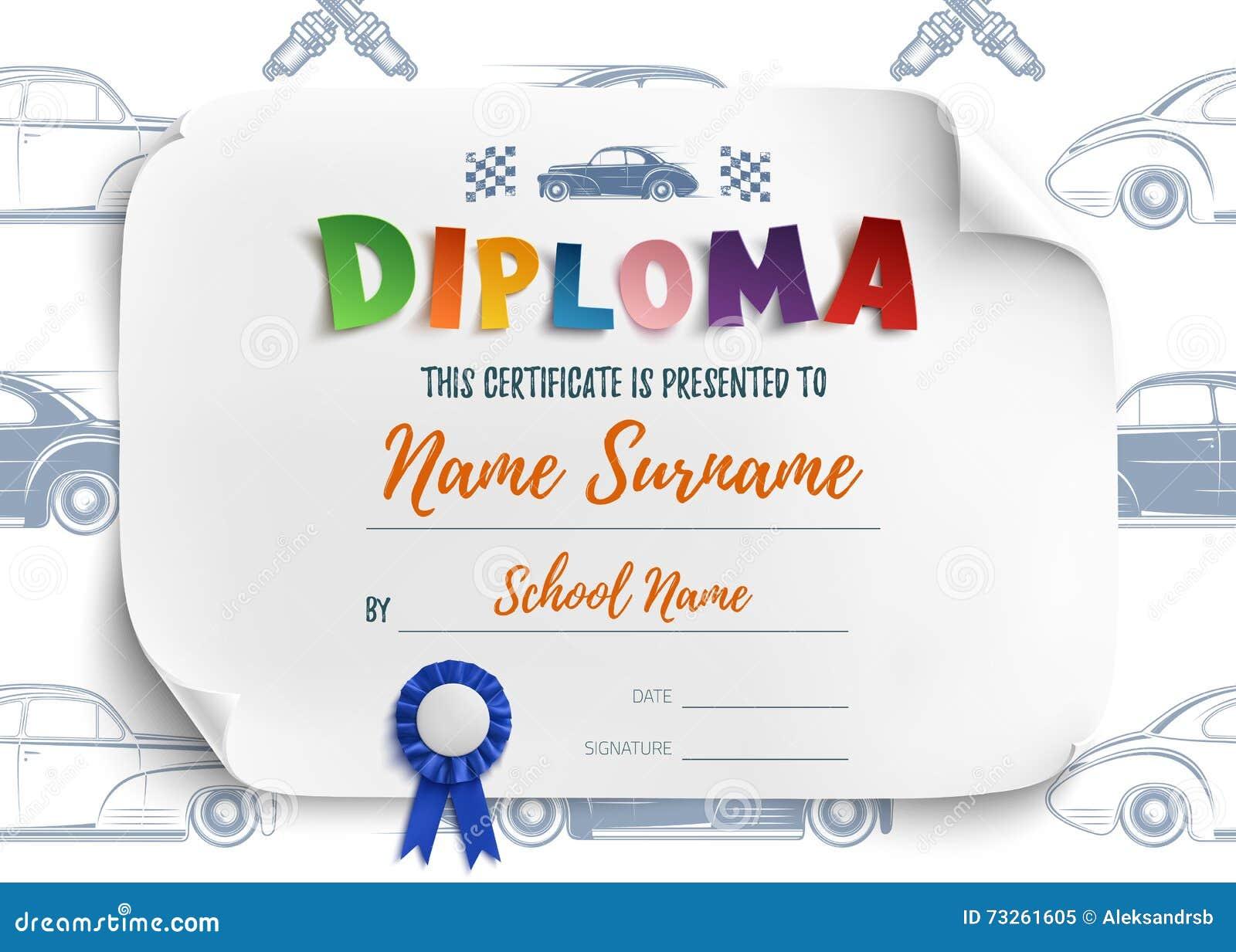 Plantilla Del Diploma Con Los Coches De Competición Ilustración del ...