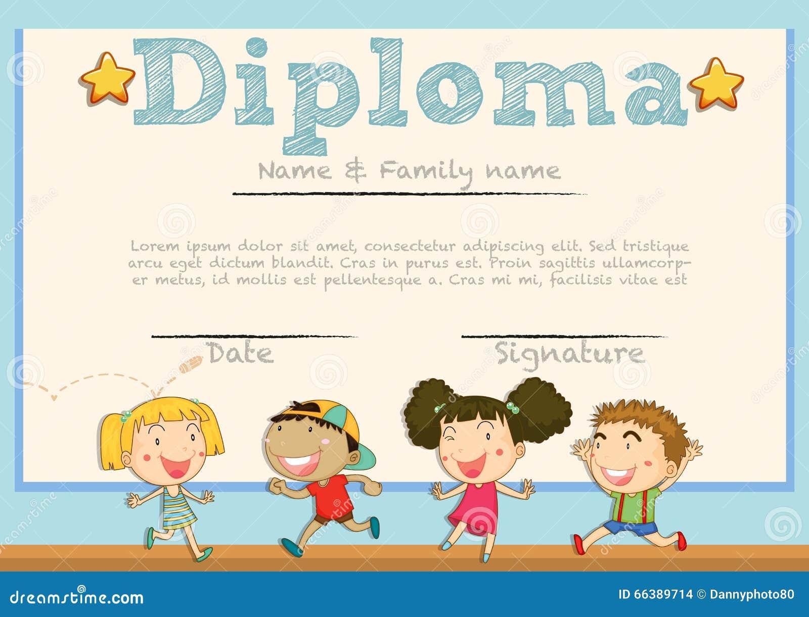 Plantilla Del Diploma Con Los Niños En Fondo Stock de ilustración ...