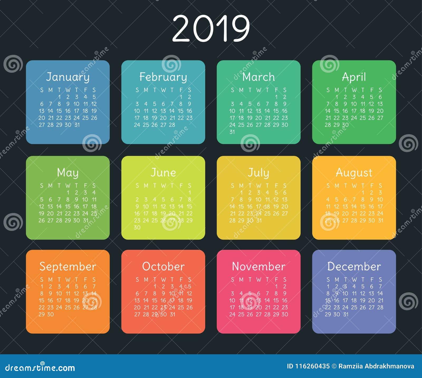 Plantilla Del Diseño Del Calendario 2019 Color, Niños, Divertidos ...