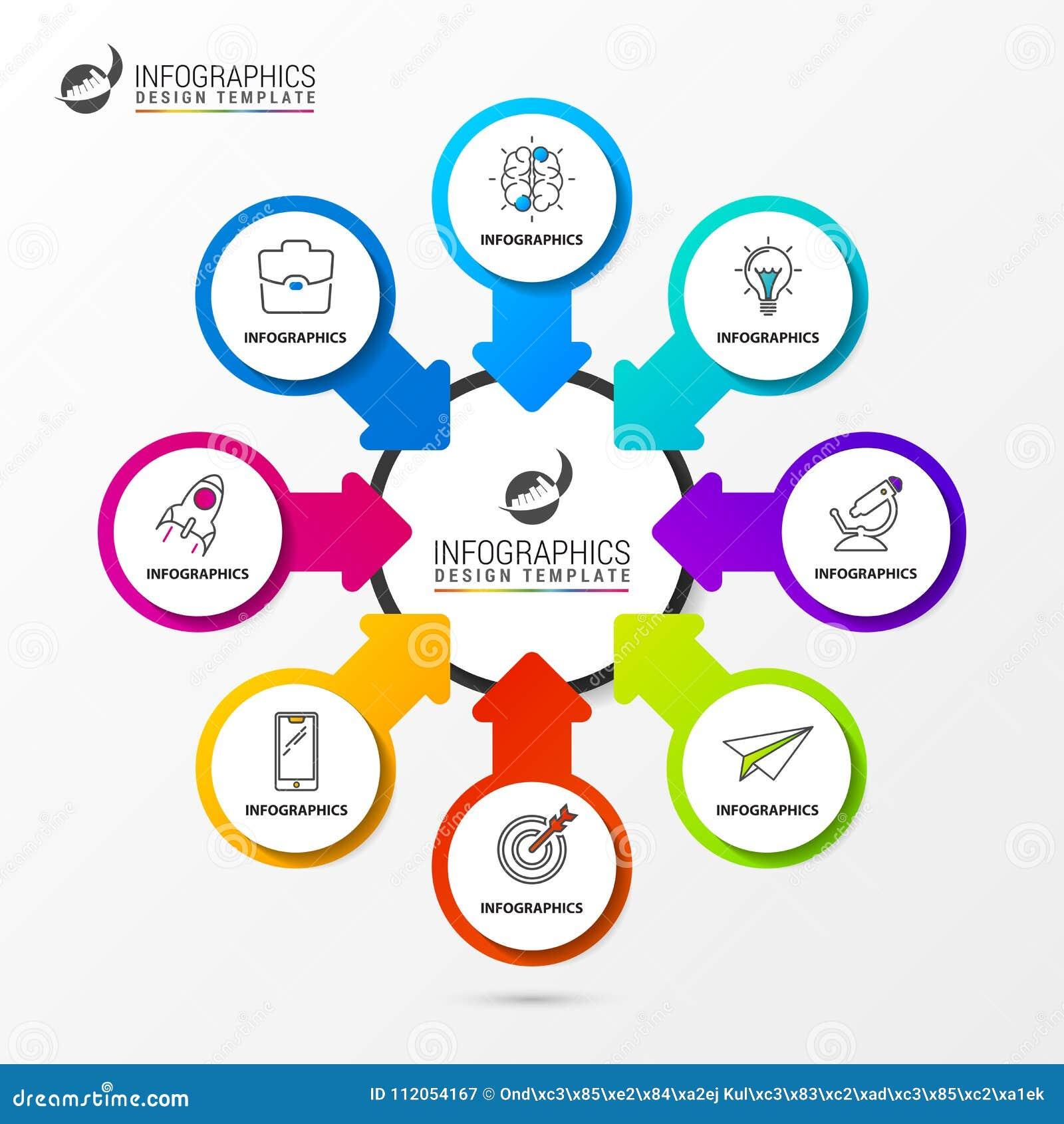 Plantilla del diseño de Infographic Carta de organización con 8 pasos