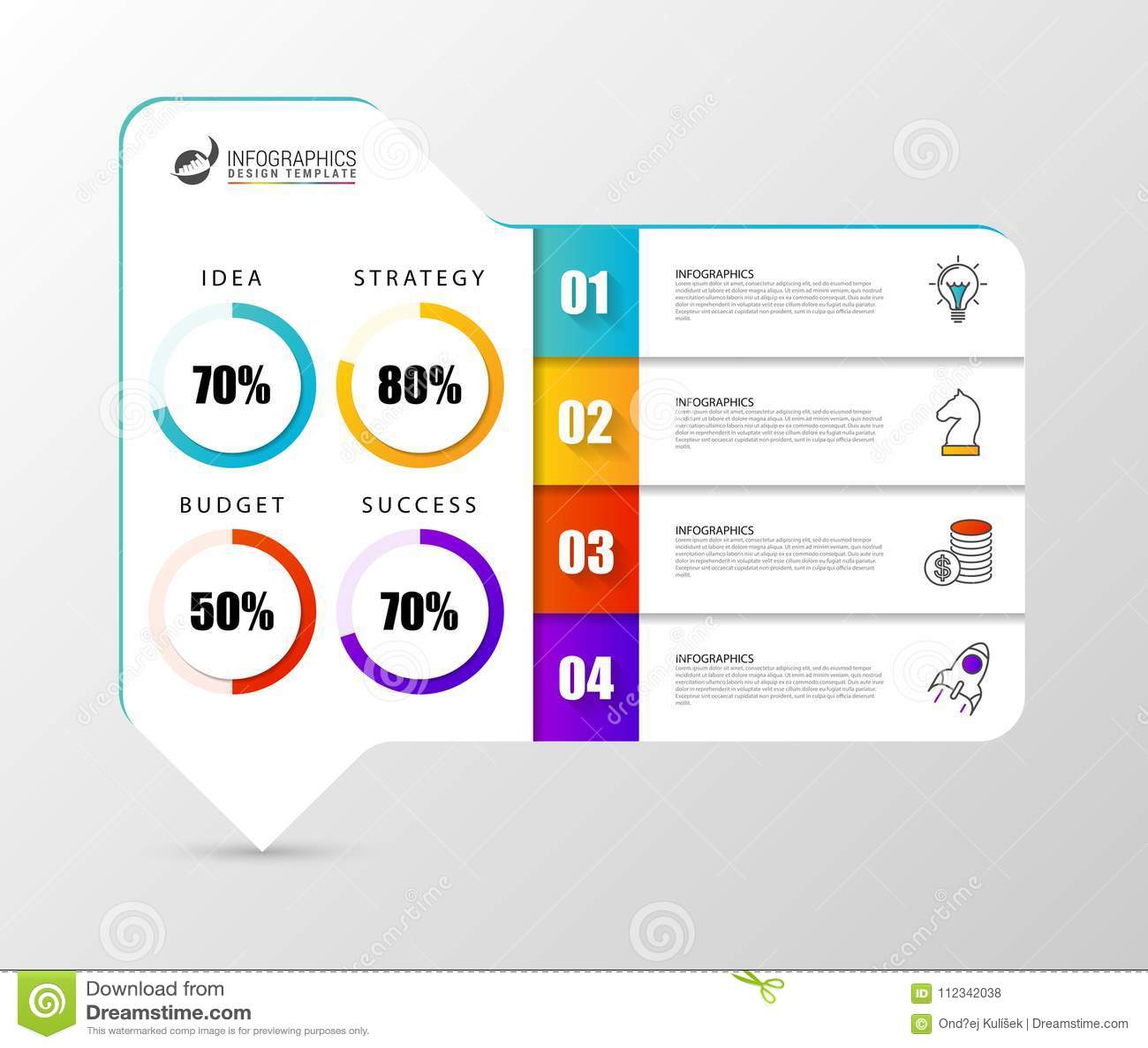 Plantilla del diseño de Infographic Carta de organización con 4 pasos