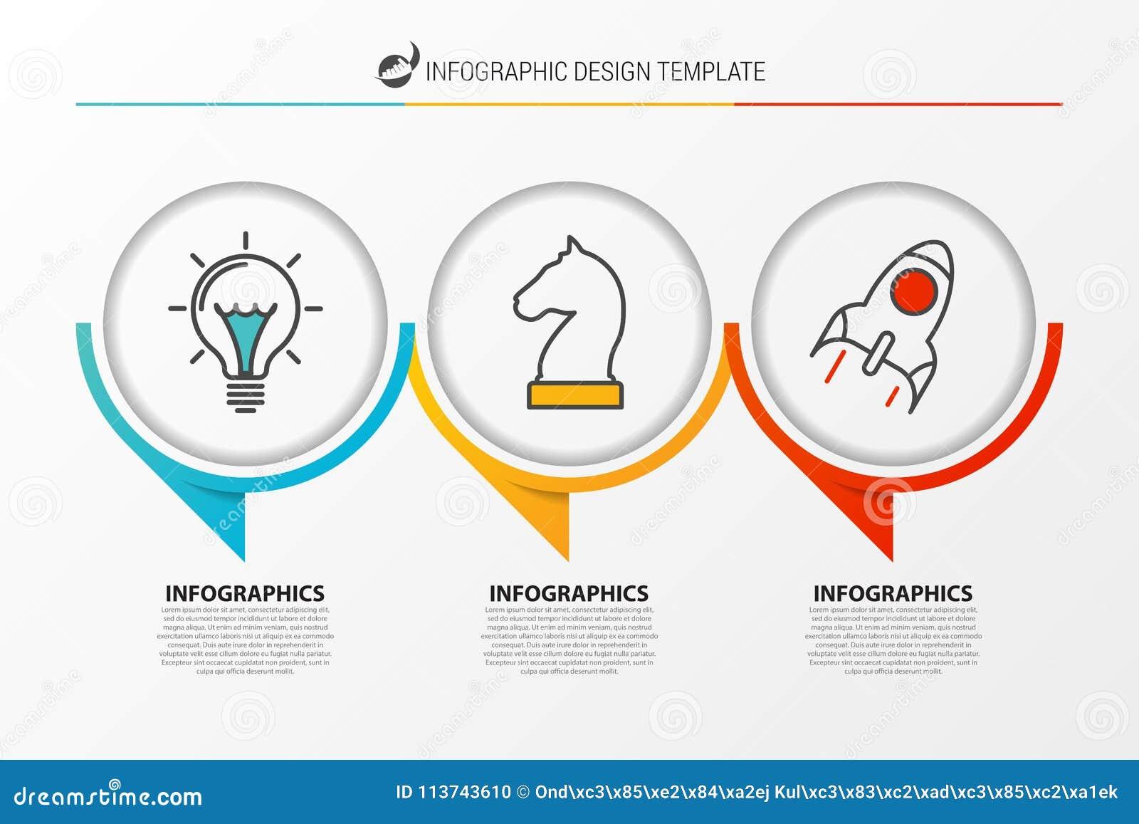 Plantilla del diseño de Infographic Carta de organización con 3 pasos