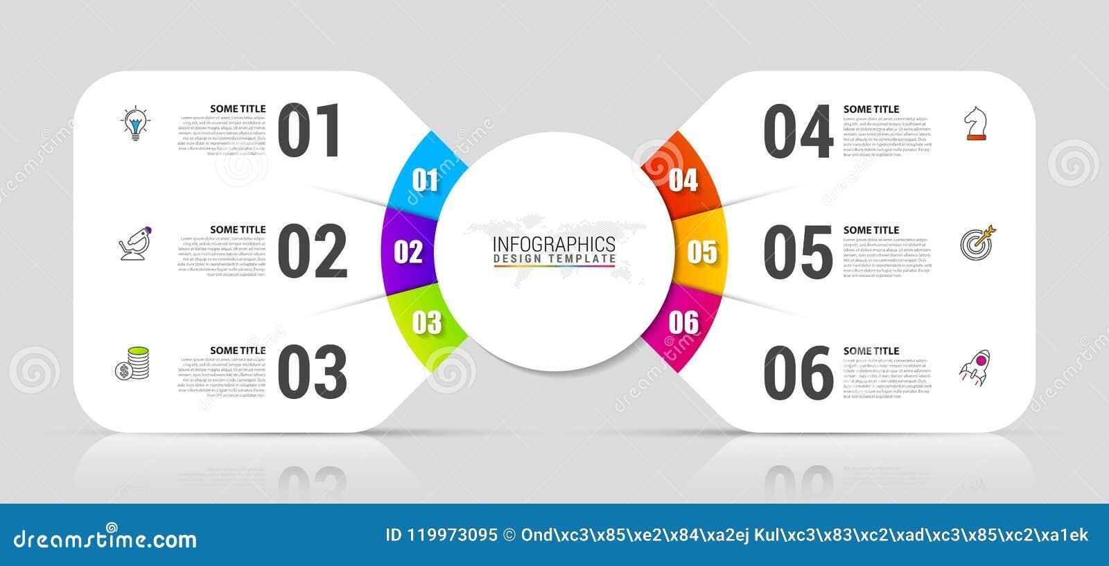 Plantilla del diseño de Infographic Concepto creativo con 6 pasos