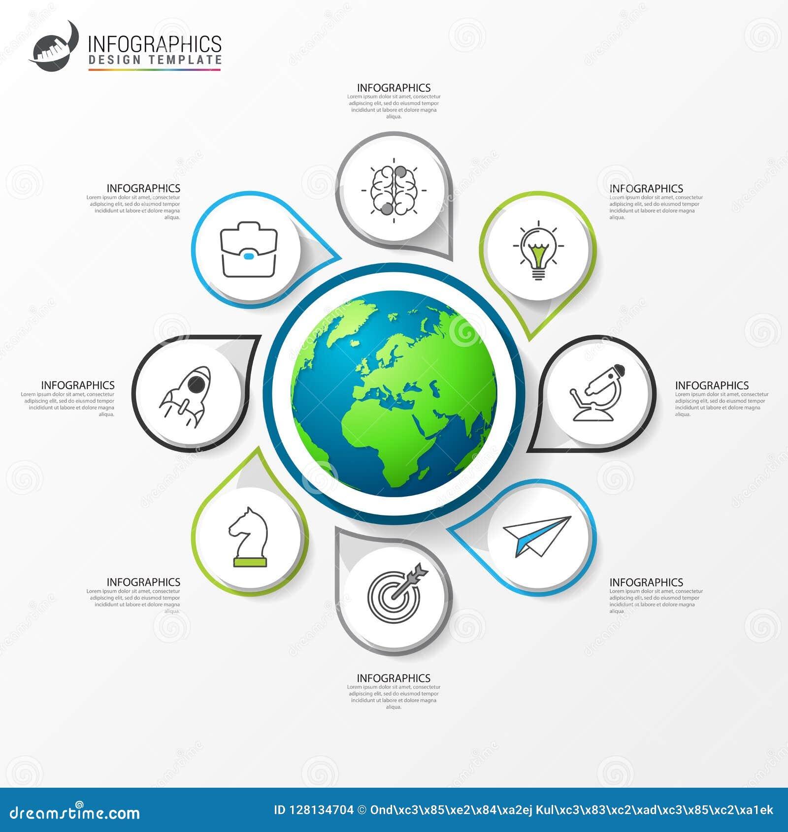 Plantilla del diseño de Infographic Concepto creativo con 8 pasos