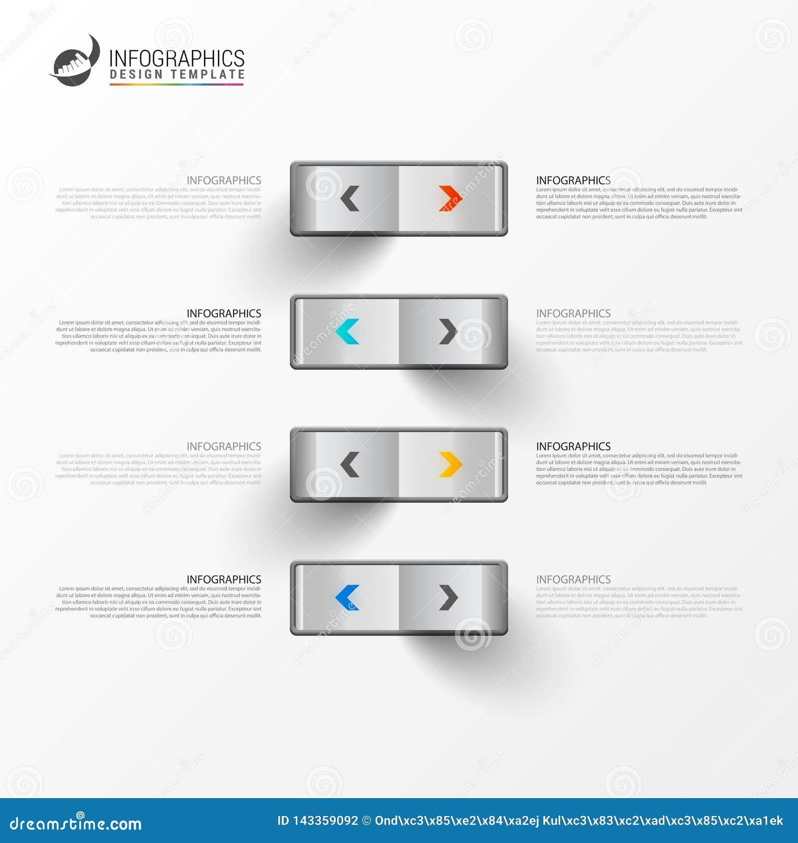 Plantilla del diseño de Infographic Concepto creativo con 4 pasos