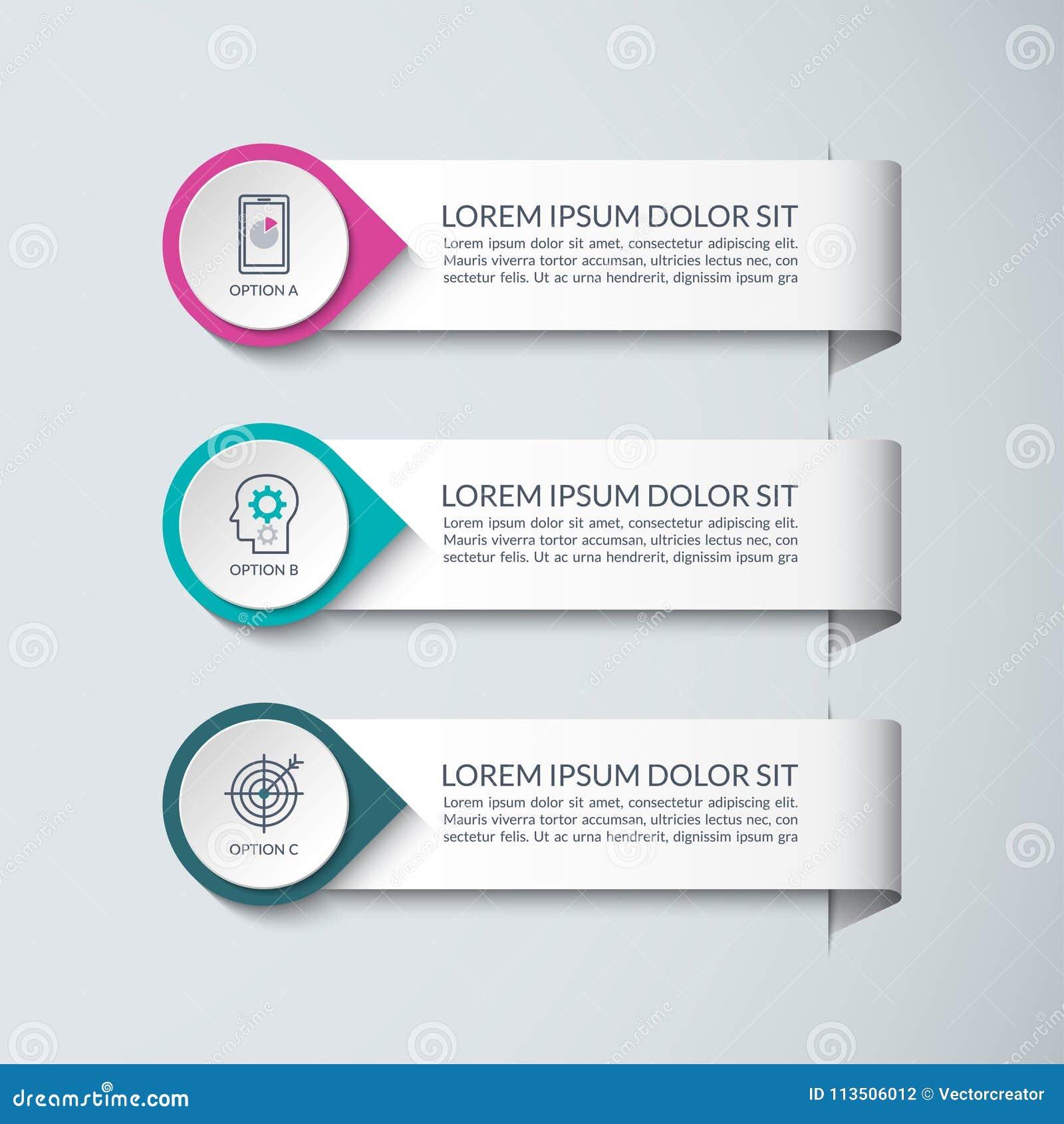 Plantilla del diseño de Infographic Vector el concepto para el infographics del negocio con 3 pasos, opciones, piezas