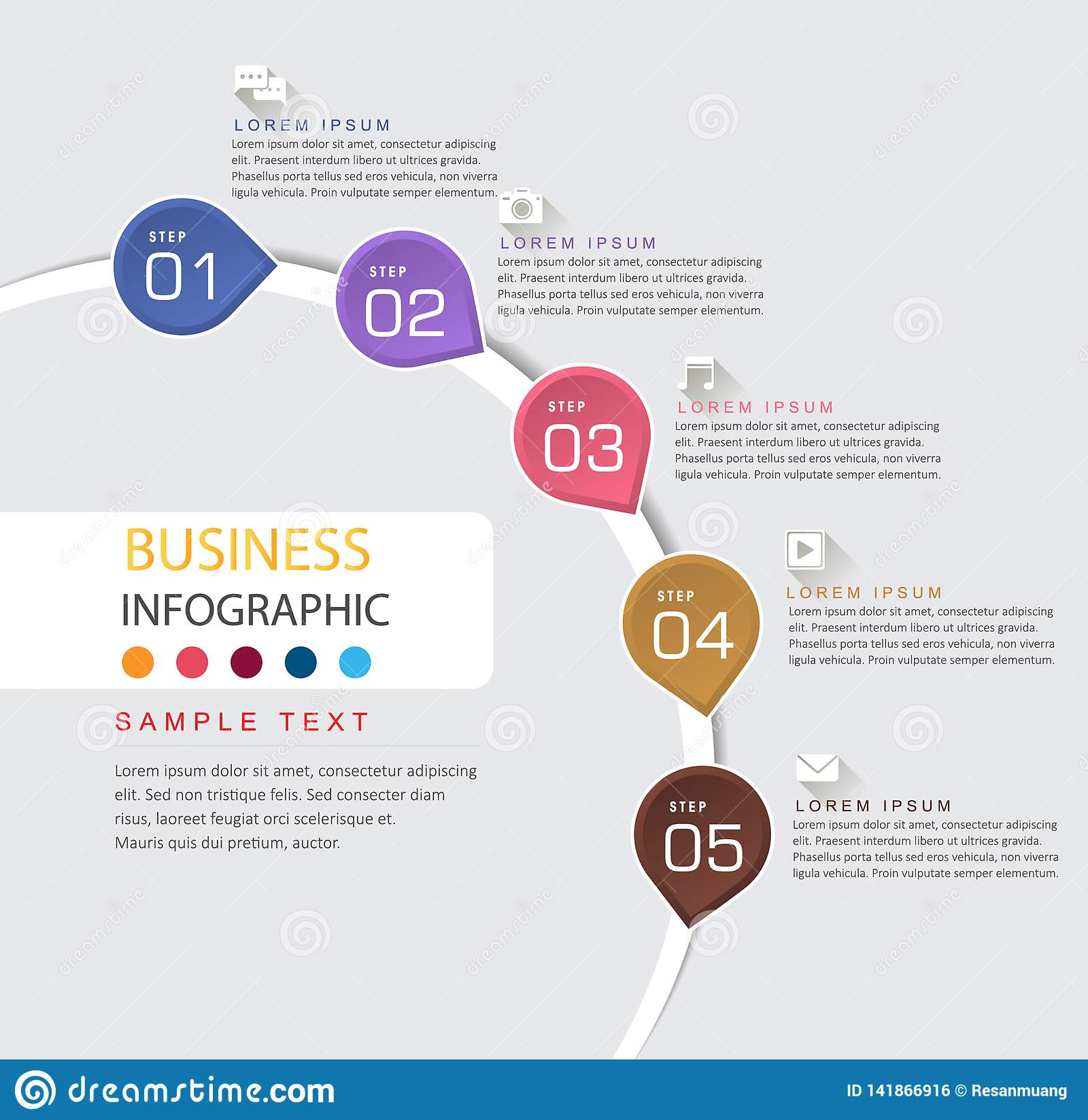 Plantilla del diseño de Infographic y cronología del negocio con 5 opciones