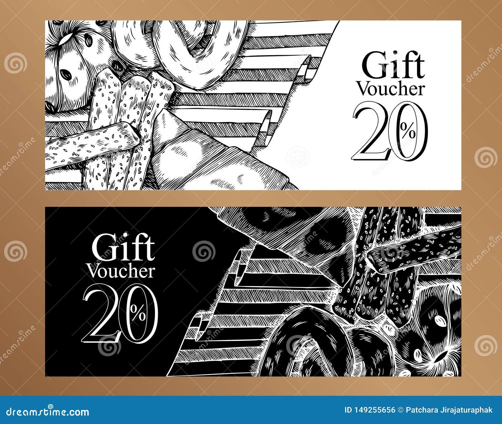 Plantilla del diseño de la comida de los vales de regalo Rebecca 36